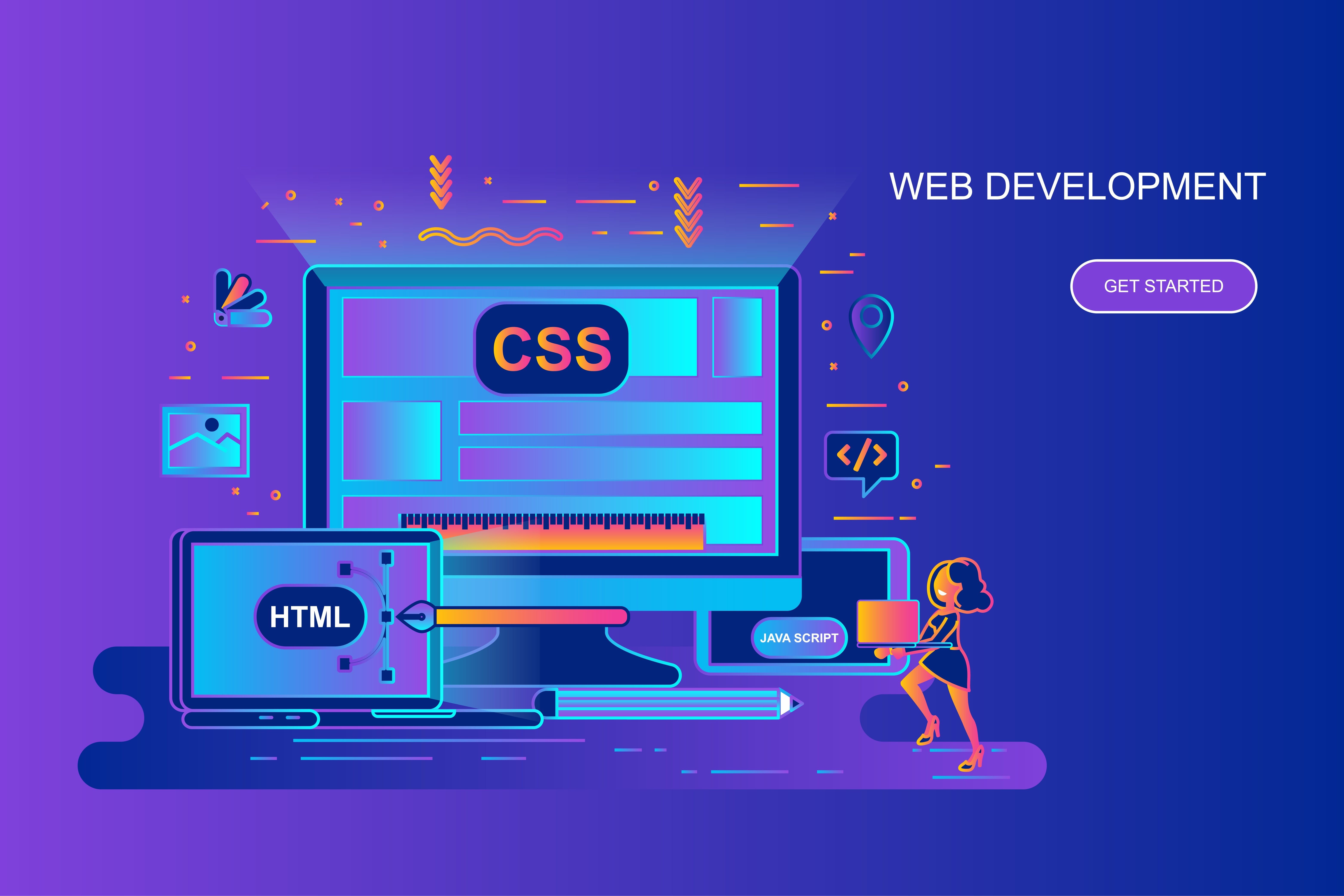 Modern gradient flat line concept web banner of web development with decorated small people character. Landing page template. Conceptual vector illustration for web and graphic design, marketing.