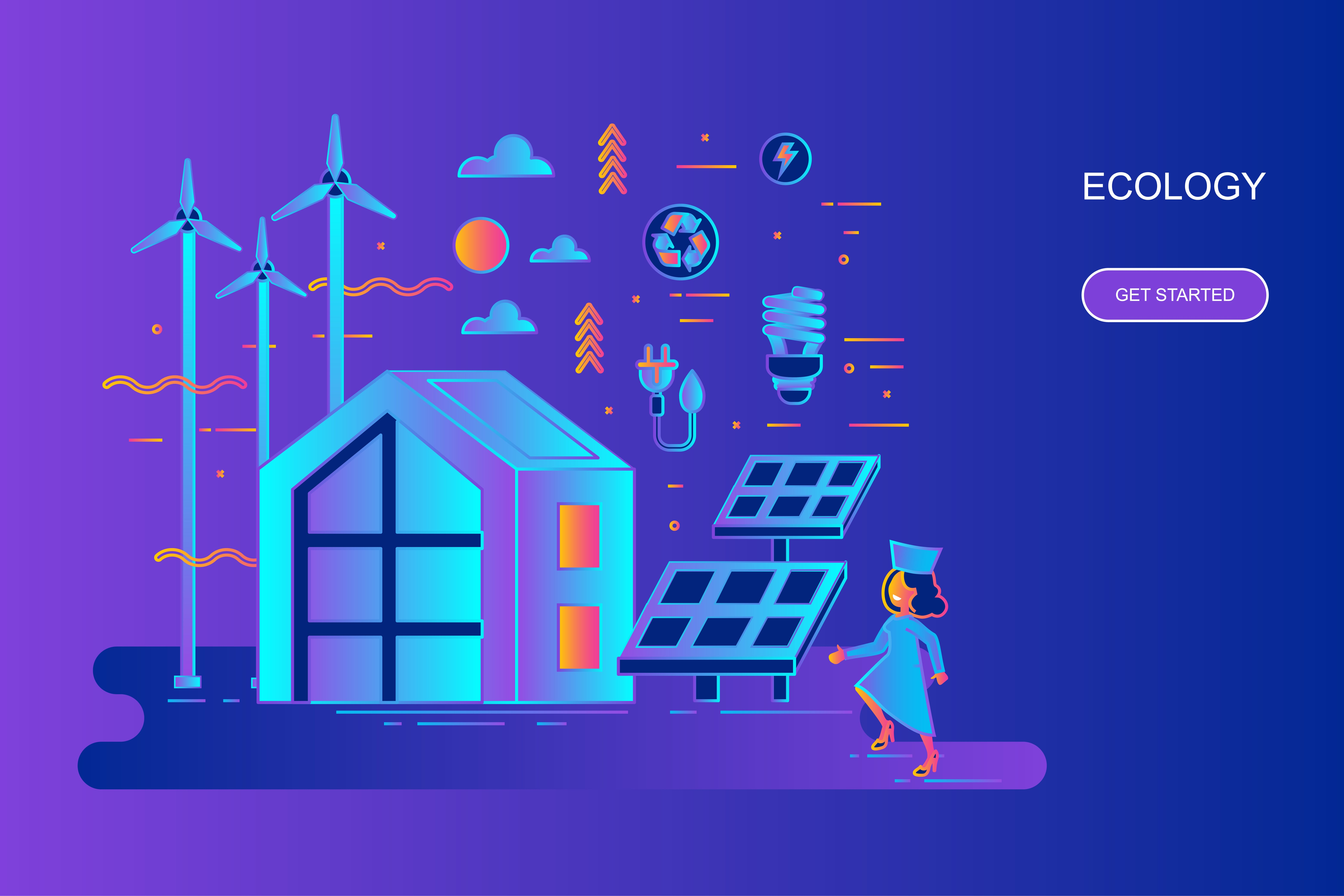 Modern gradient flat line concept web banner of ecology with decorated small people character. Landing page template. Conceptual vector illustration for web and graphic design, marketing.