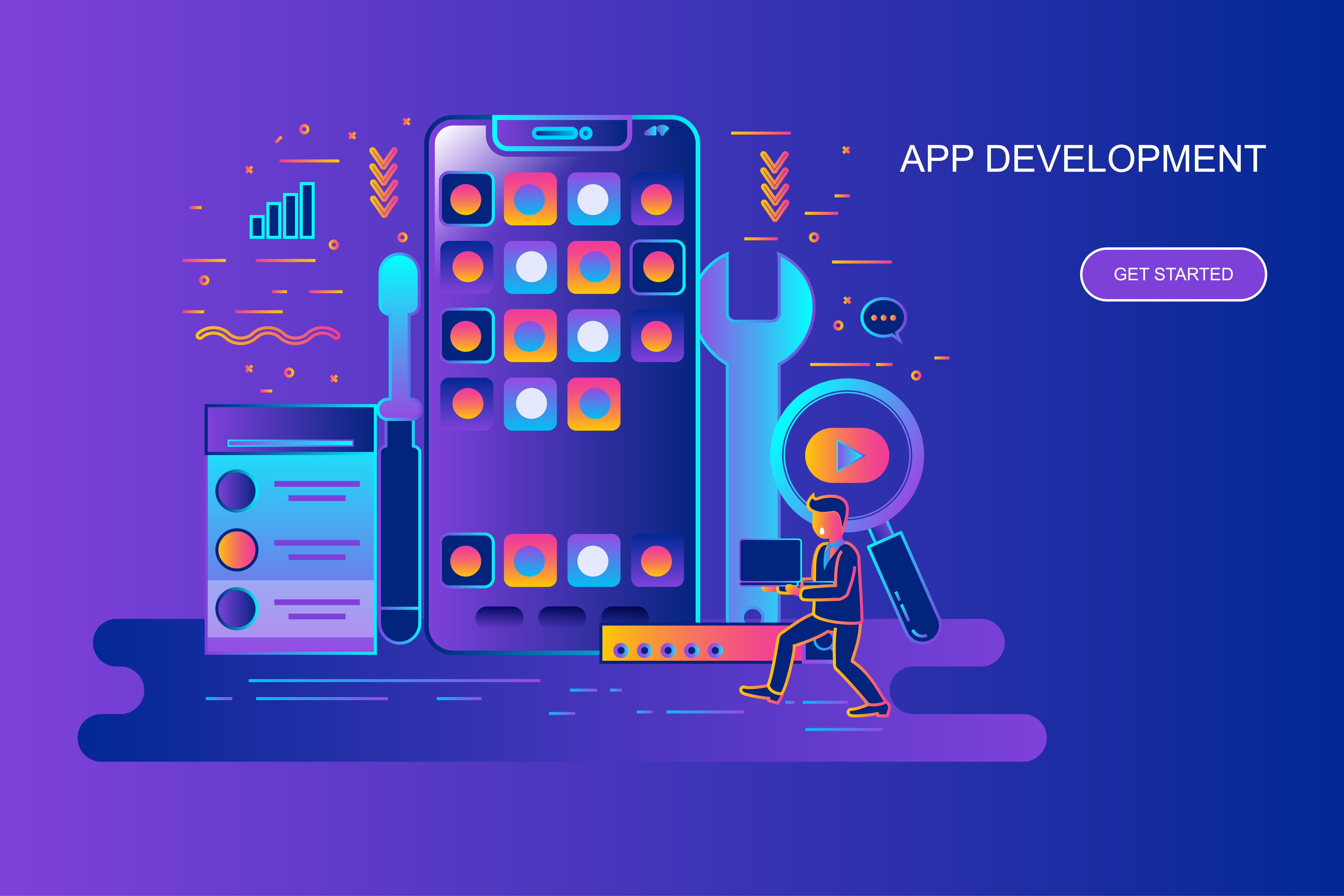 Modern gradient flat line concept web banner of app development with decorated small people character. Landing page template. Conceptual vector illustration for web and graphic design, marketing.