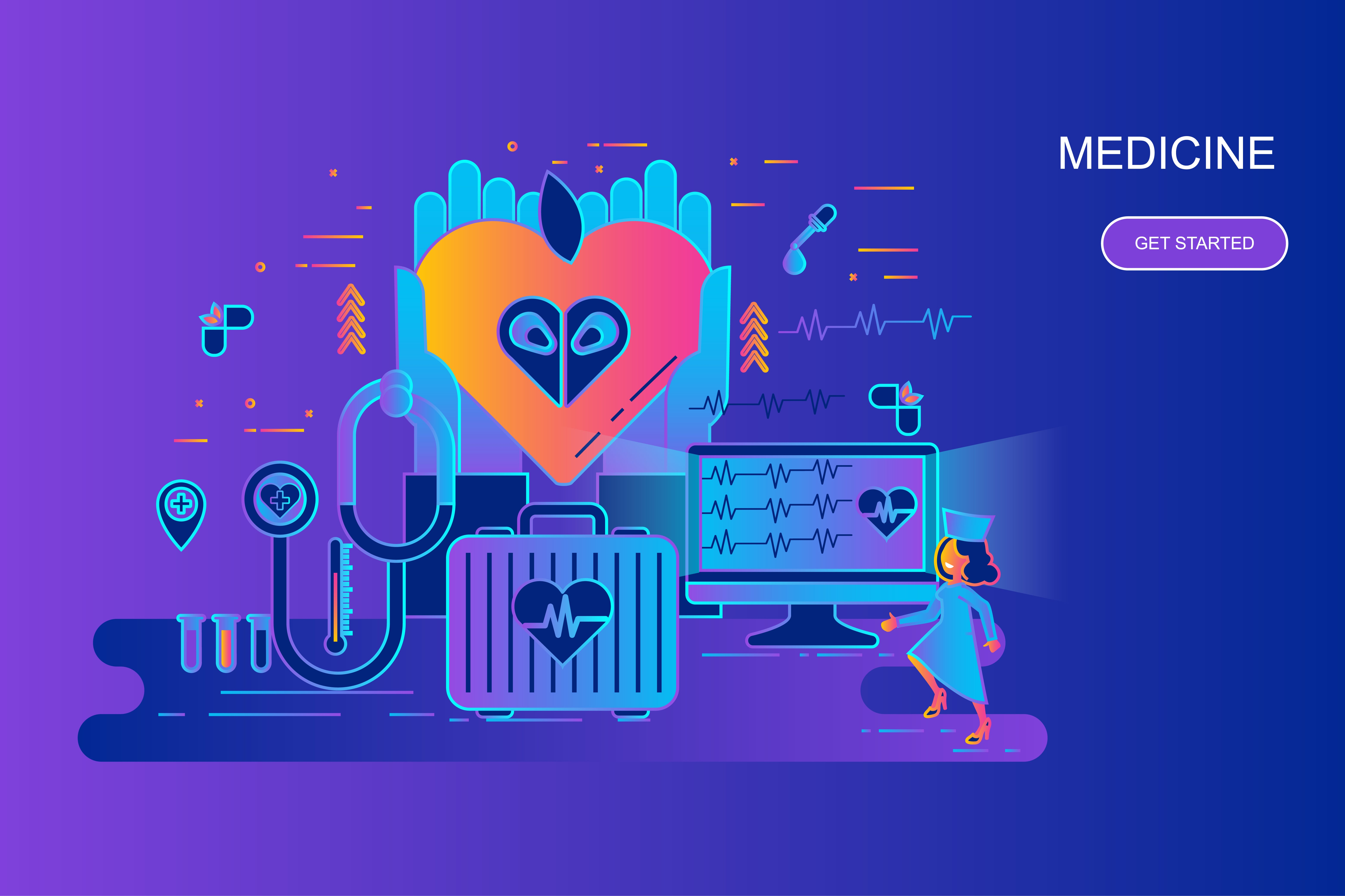 Modern gradient flat line concept web banner of medicine and healthcare with decorated small people character. Landing page template. Conceptual vector illustration for web and graphic design.