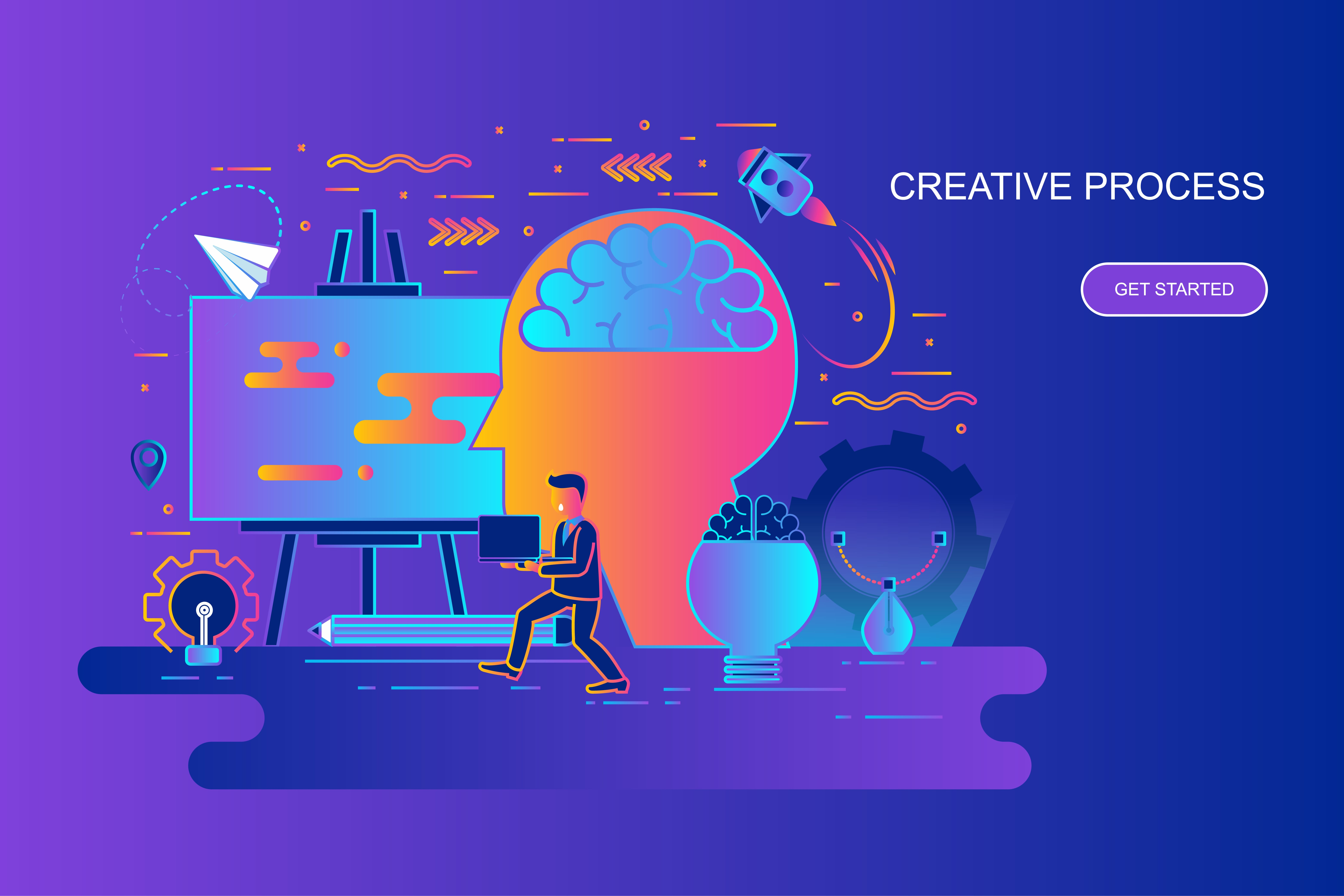 Modern gradient flat line concept web banner of creative process with decorated small people character. Landing page template. Conceptual vector illustration for web and graphic design, marketing.