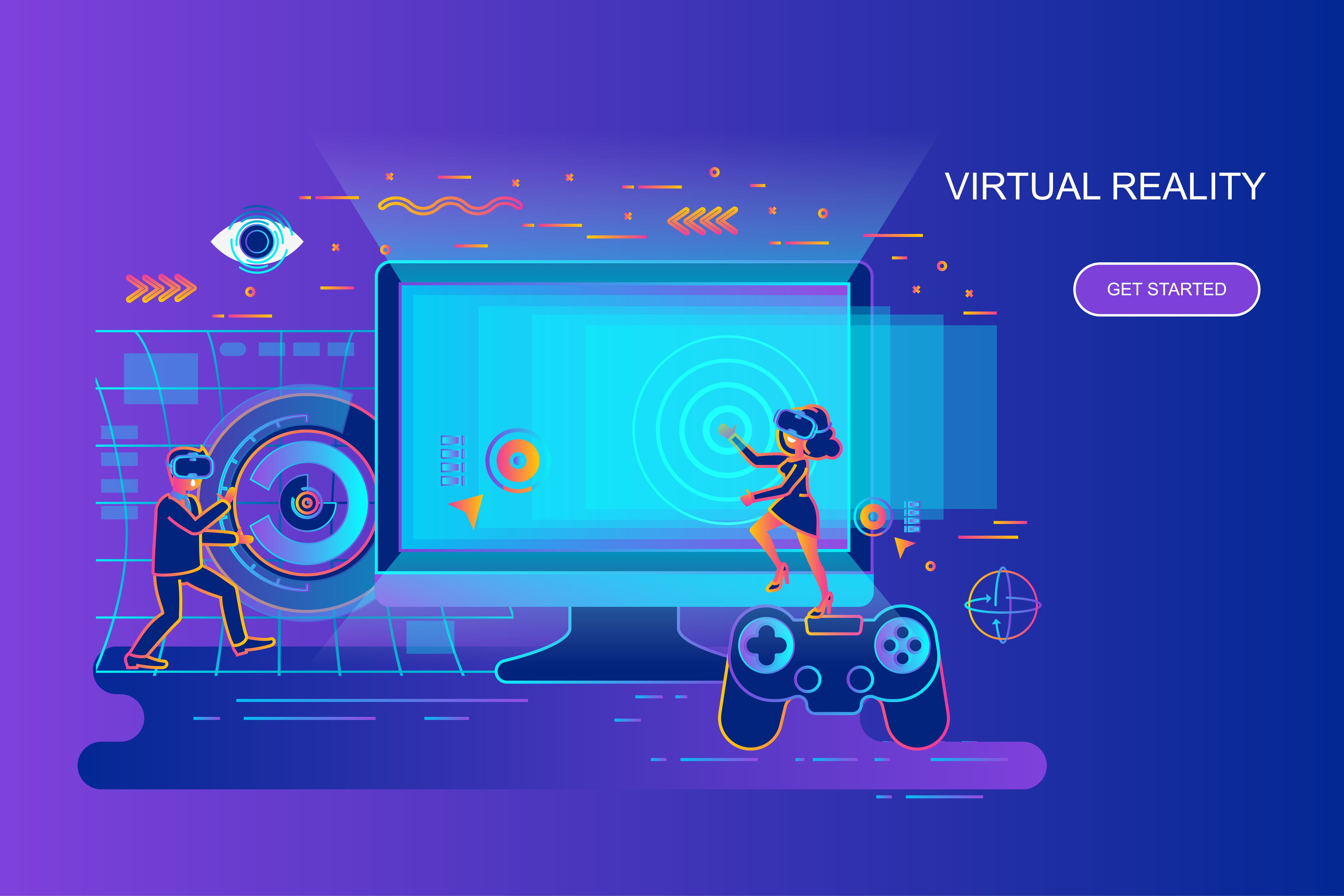 Modern gradient flat line concept web banner of virtual reality with decorated small people character. Landing page template. Conceptual vector illustration for web and graphic design, marketing.