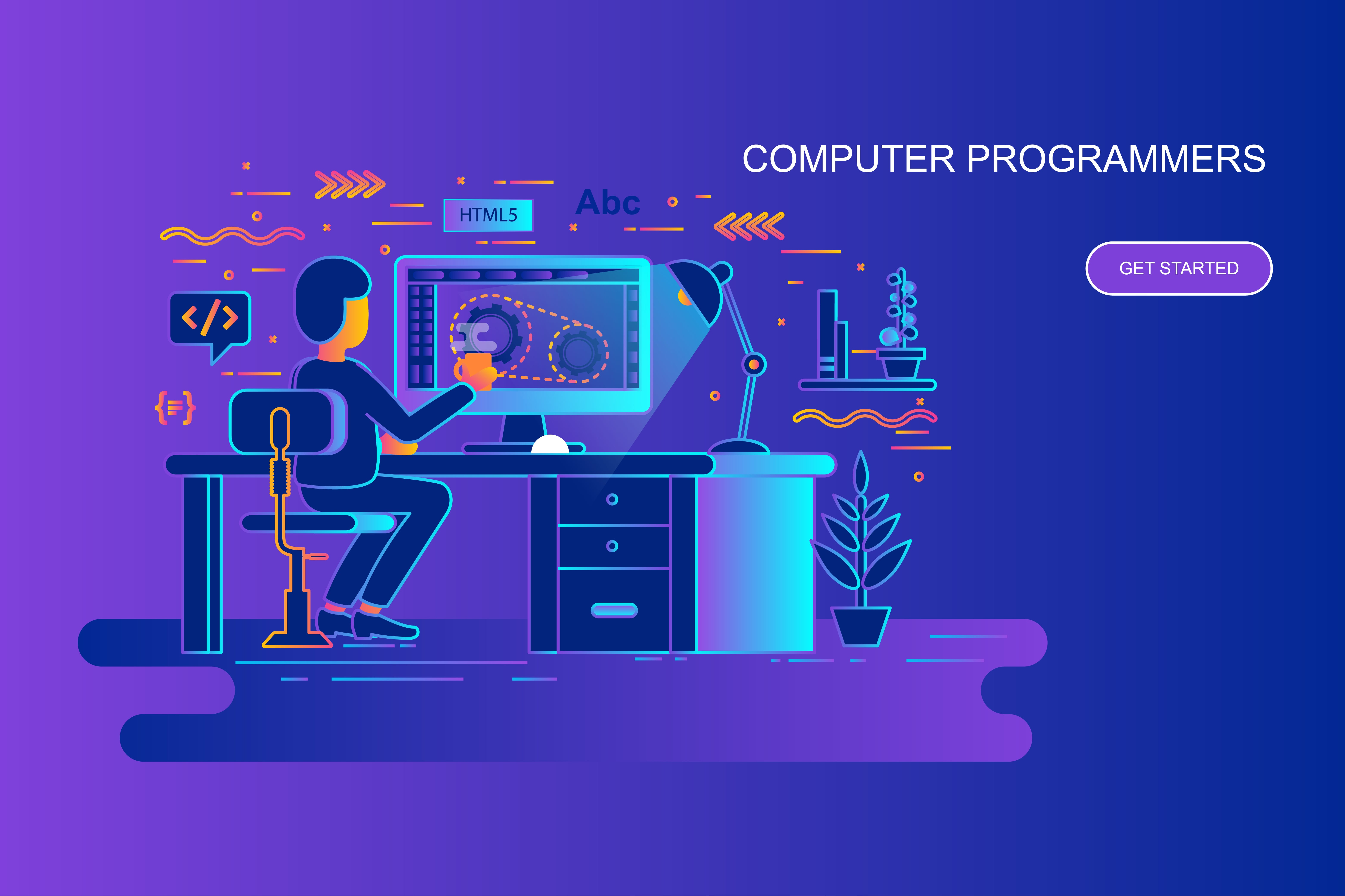 Modern gradient flat line concept web banner of computer programmers with decorated small people character. Landing page template. Conceptual vector illustration for web and graphic design, marketing.