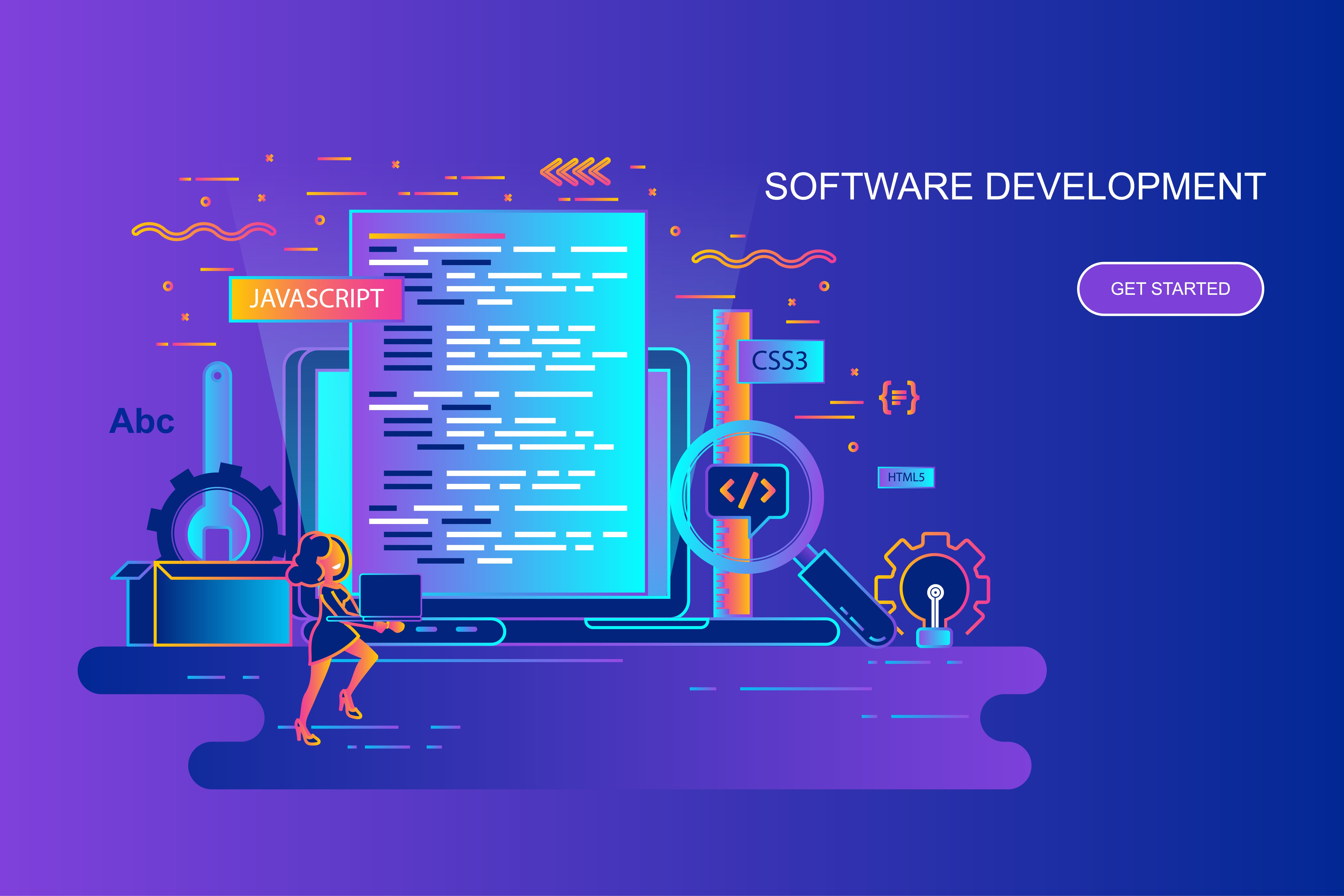 Modern gradient flat line concept web banner of software development with decorated small people character. Landing page template. Conceptual vector illustration for web and graphic design, marketing.