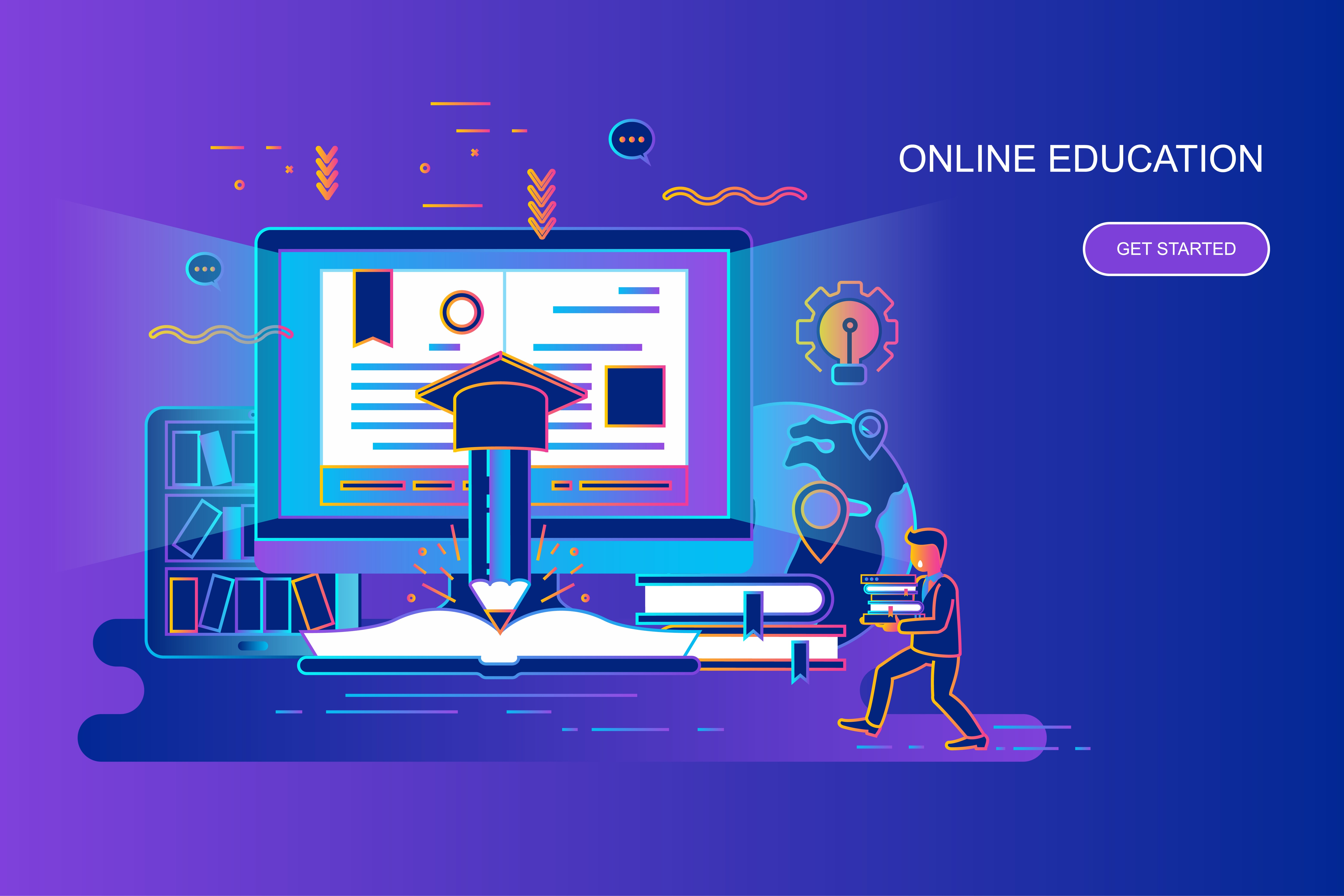 Modern gradient flat line concept web banner of online education with decorated small people character. Landing page template. Conceptual vector illustration for web and graphic design, marketing.