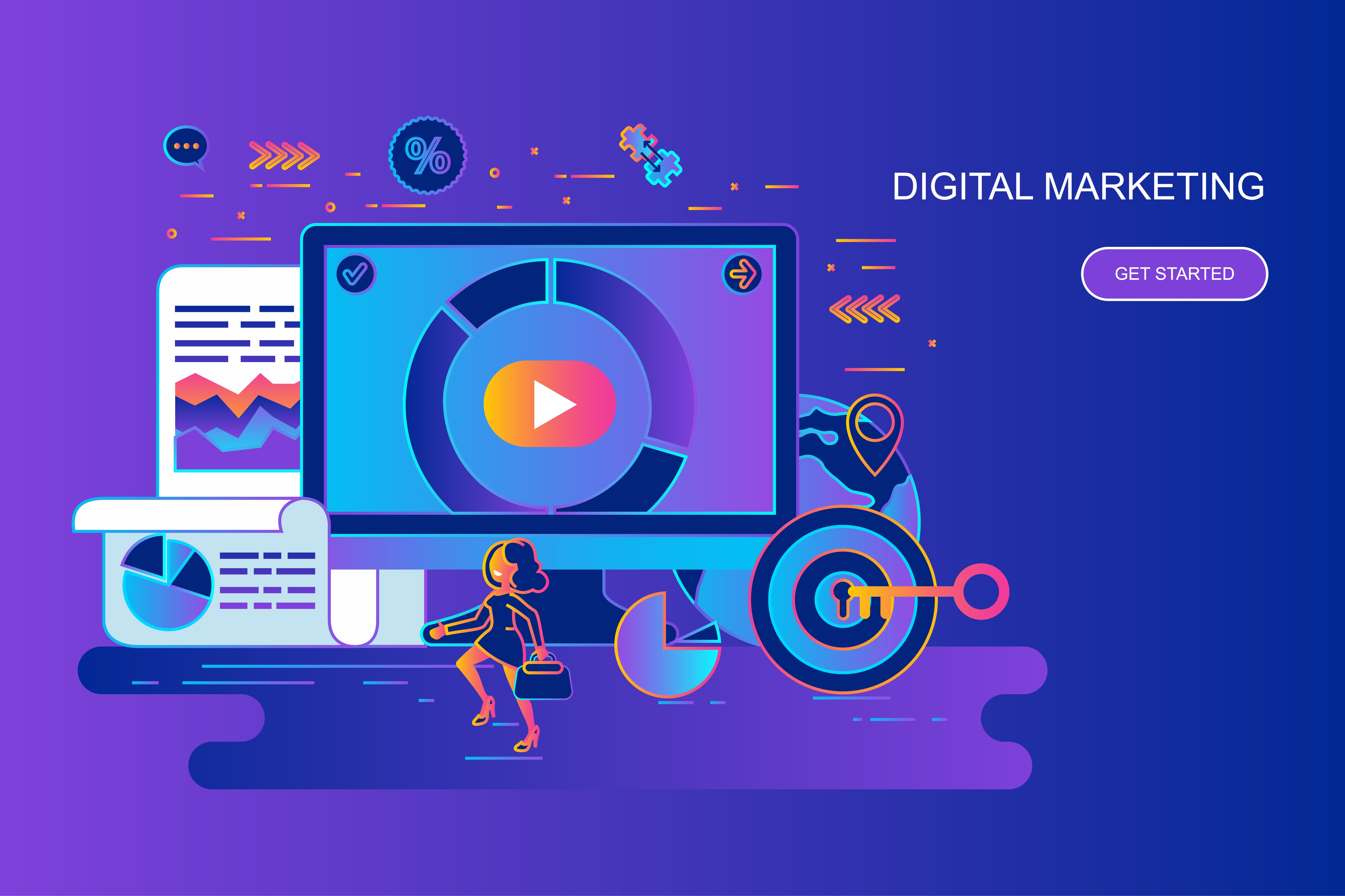 Modern gradient flat line concept web banner of digital marketing with decorated small people character. Landing page template. Conceptual vector illustration for web and graphic design, promotion.