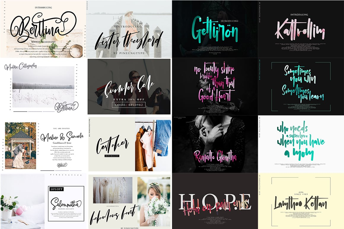 Stylish Calligraphy Fonts - 156 Fonts of 62 Typefaces - 4