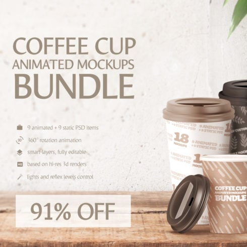 Coffee Cup Animated Mockups Bundle - 492 490x490