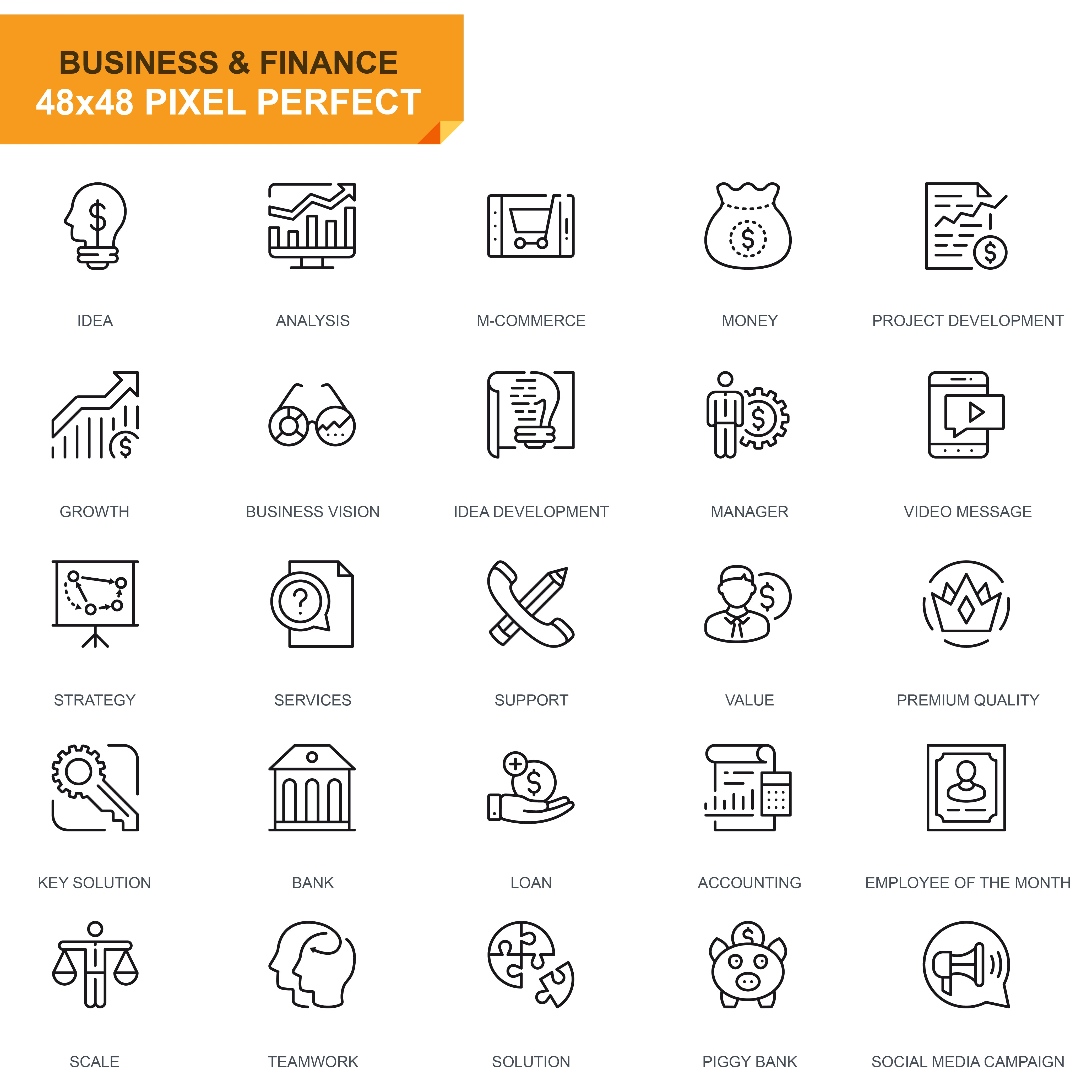 625 Thin Line Business Icons