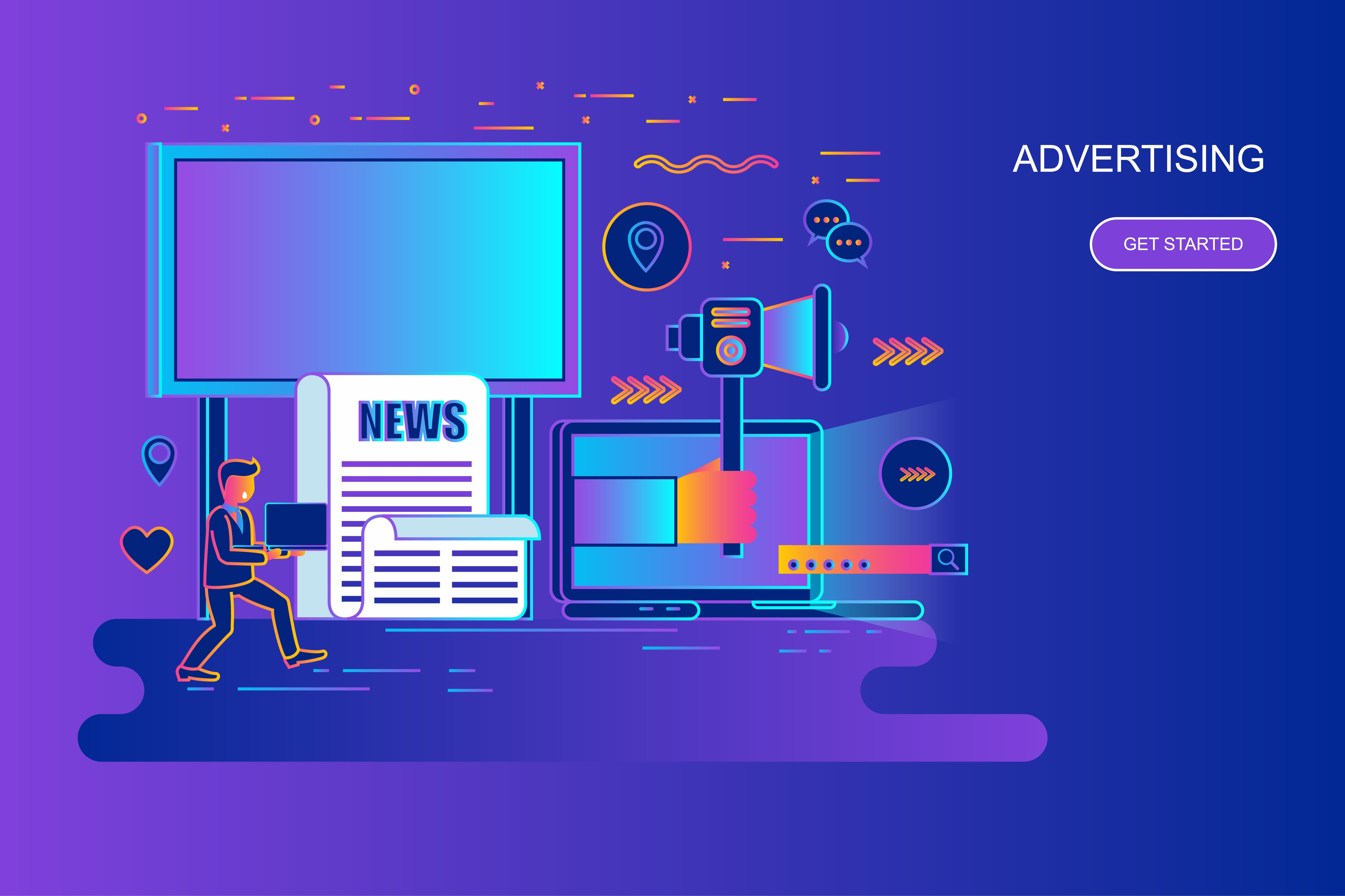 Modern gradient flat line concept web banner of advertising and promo with decorated small people character. Landing page template. Conceptual vector illustration for web, graphic design, marketing.
