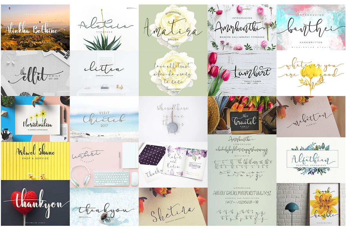 Stylish Calligraphy Fonts - 156 Fonts of 62 Typefaces - 6