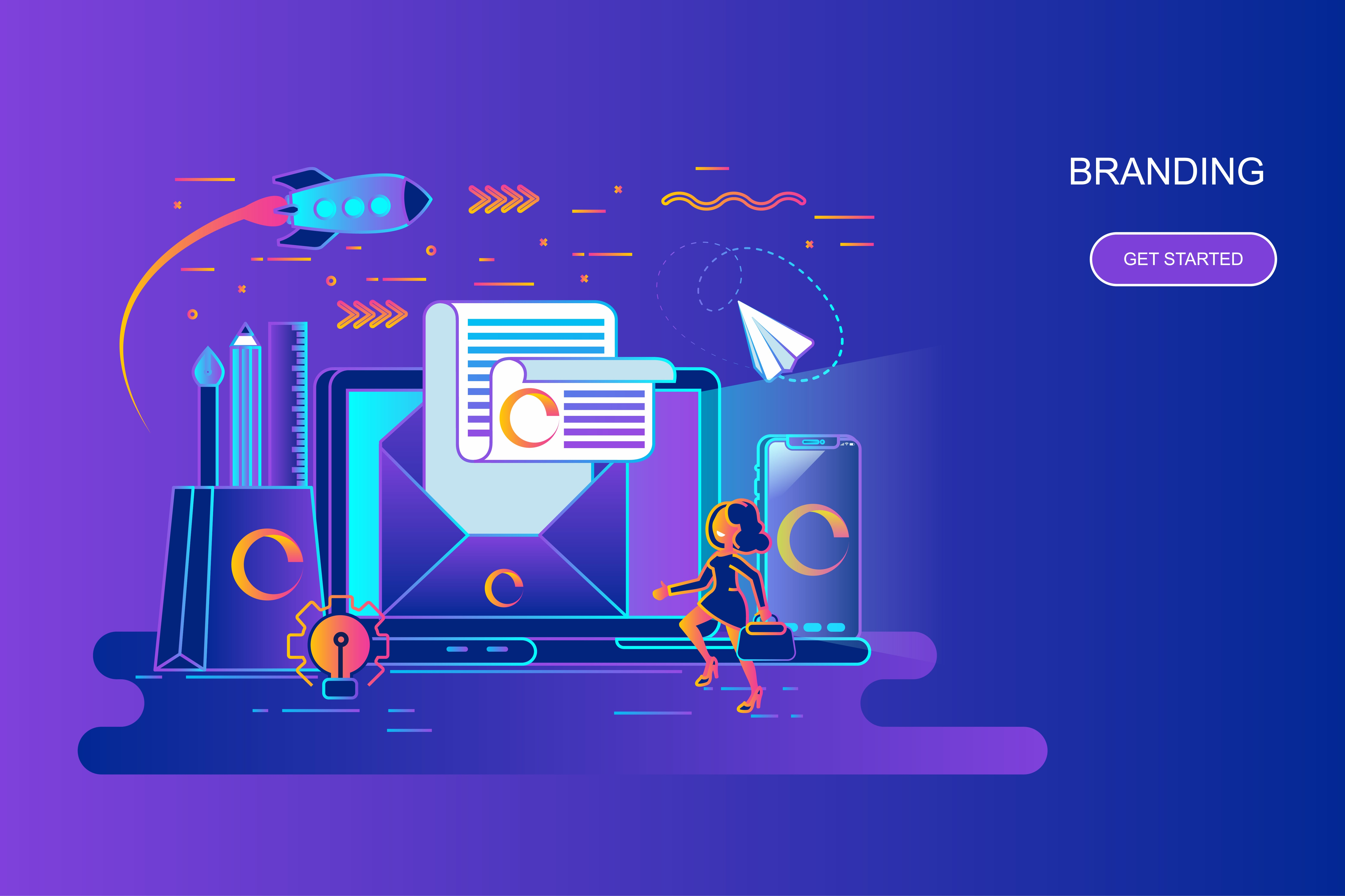 Modern gradient flat line concept web banner of branding with decorated small people character. Landing page template. Conceptual vector illustration for web and graphic design, marketing.
