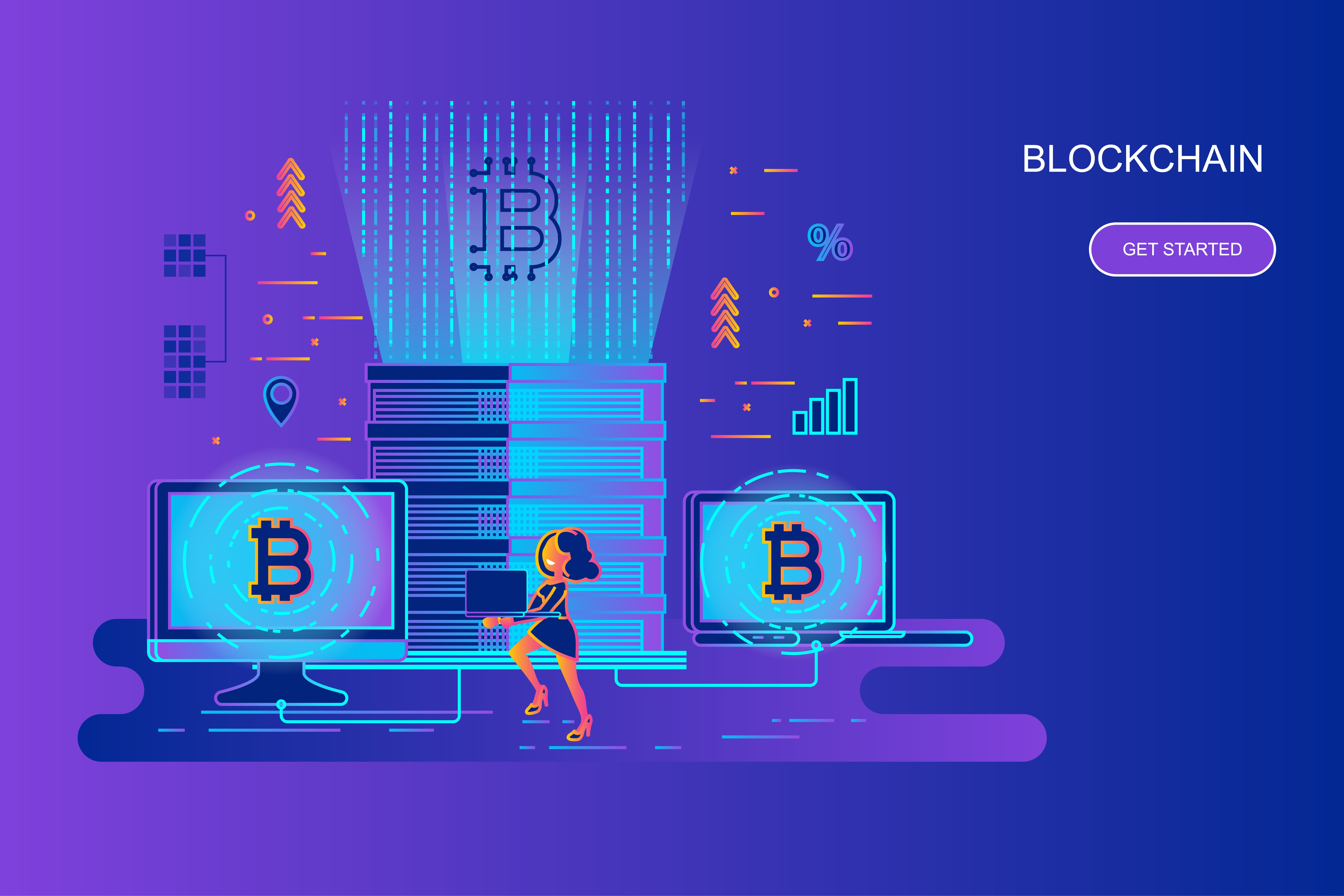 Modern gradient flat line concept web banner of cryptocurrency and blockchain with decorated small people character. Landing page template. Conceptual vector illustration for web and graphic design.