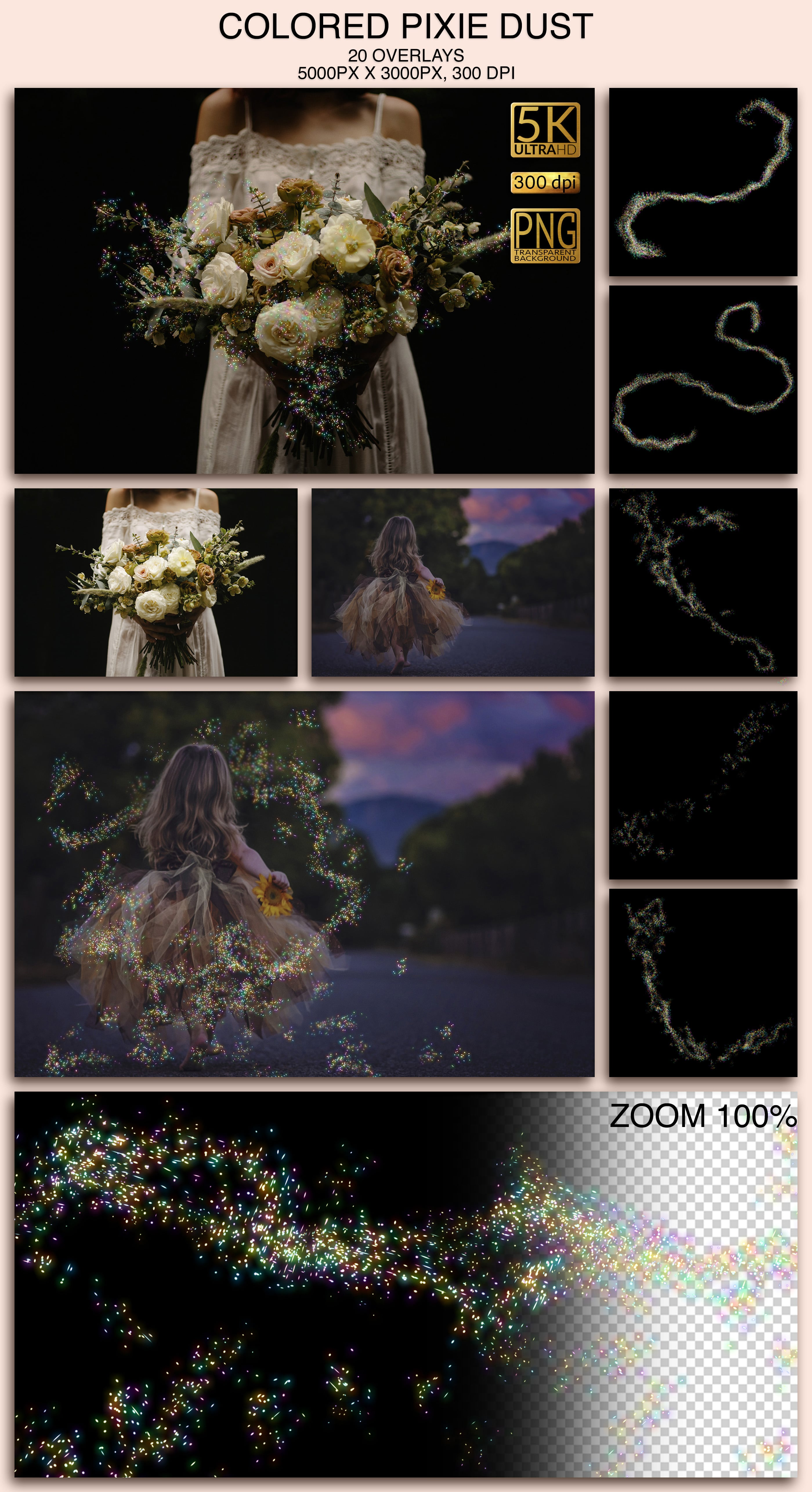 2006 Overlays Photoshop Bundle - Colored Pixie Dust Preview