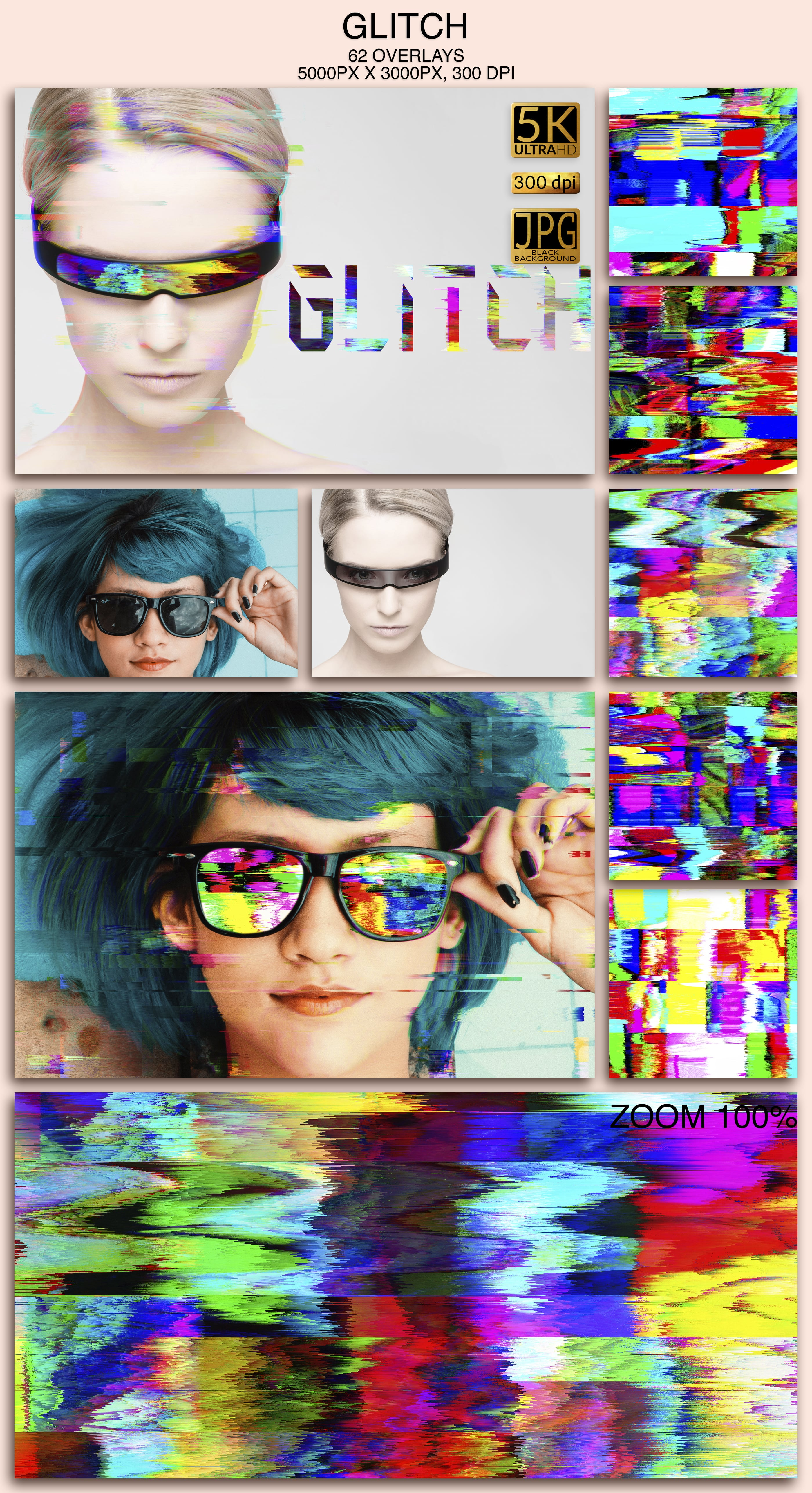 2006 Overlays Photoshop Bundle - Glitch Preview