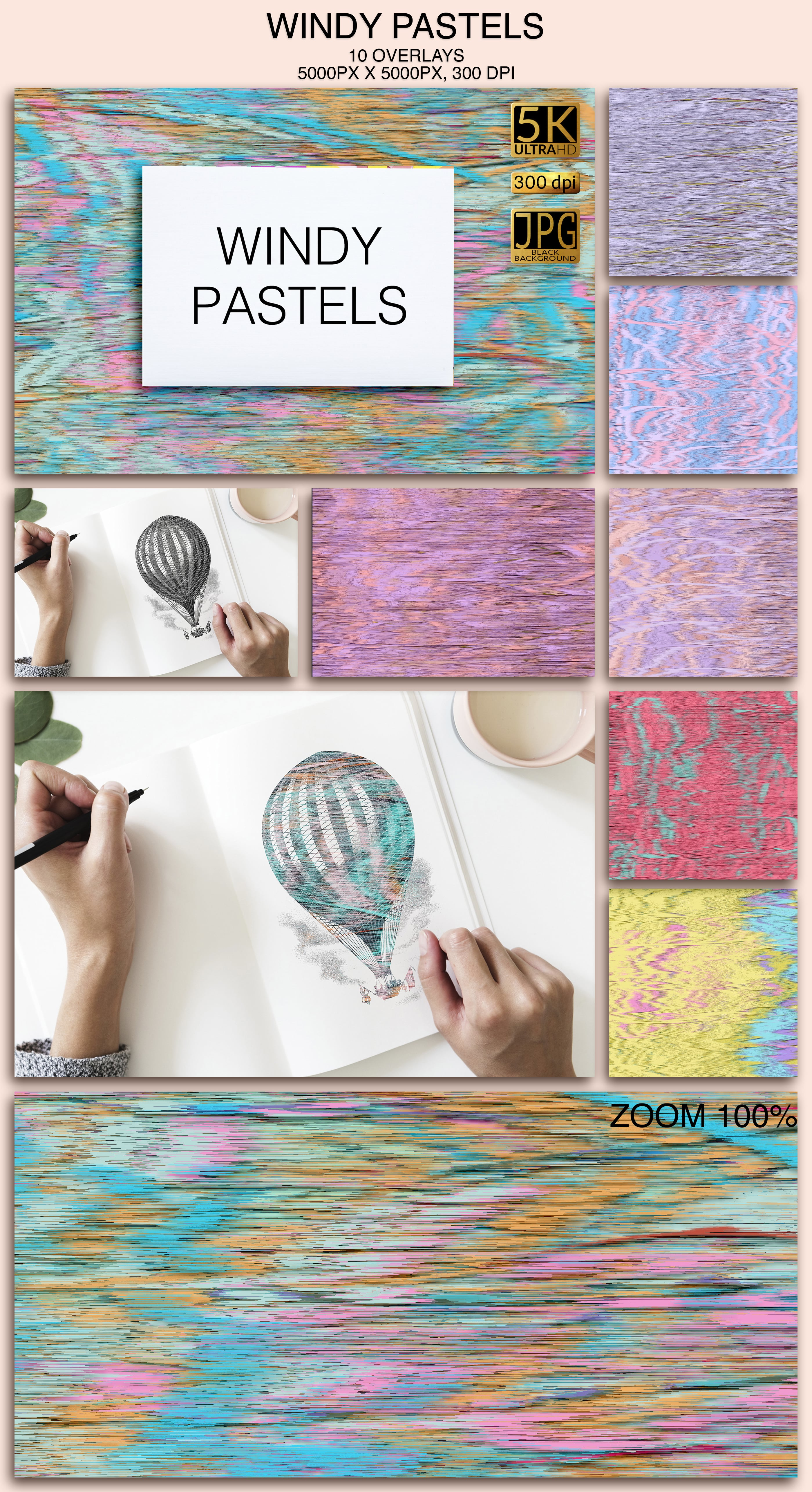 2006 Overlays Photoshop Bundle - Windy Pastels Preview