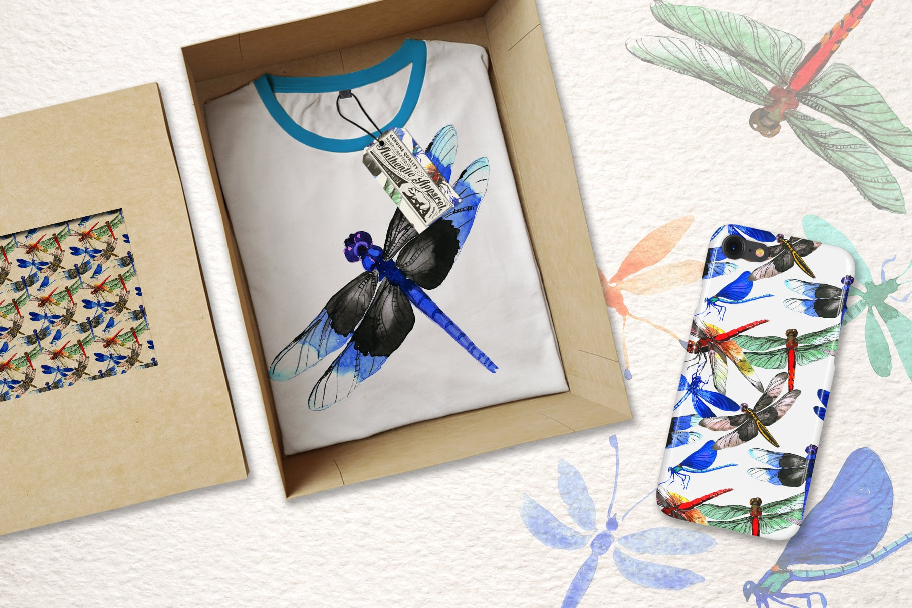 Insect Dragonfly PNG Watercolor Set