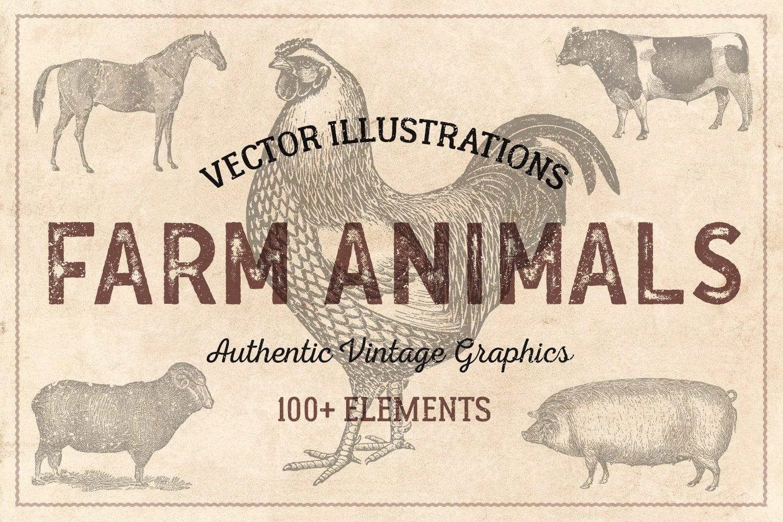 Farm Animals vintage illustration