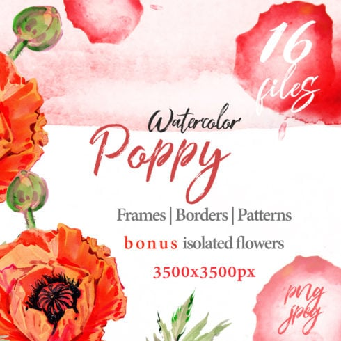Watercolor Red Poppy PNG Set - promo 1 2 490x490