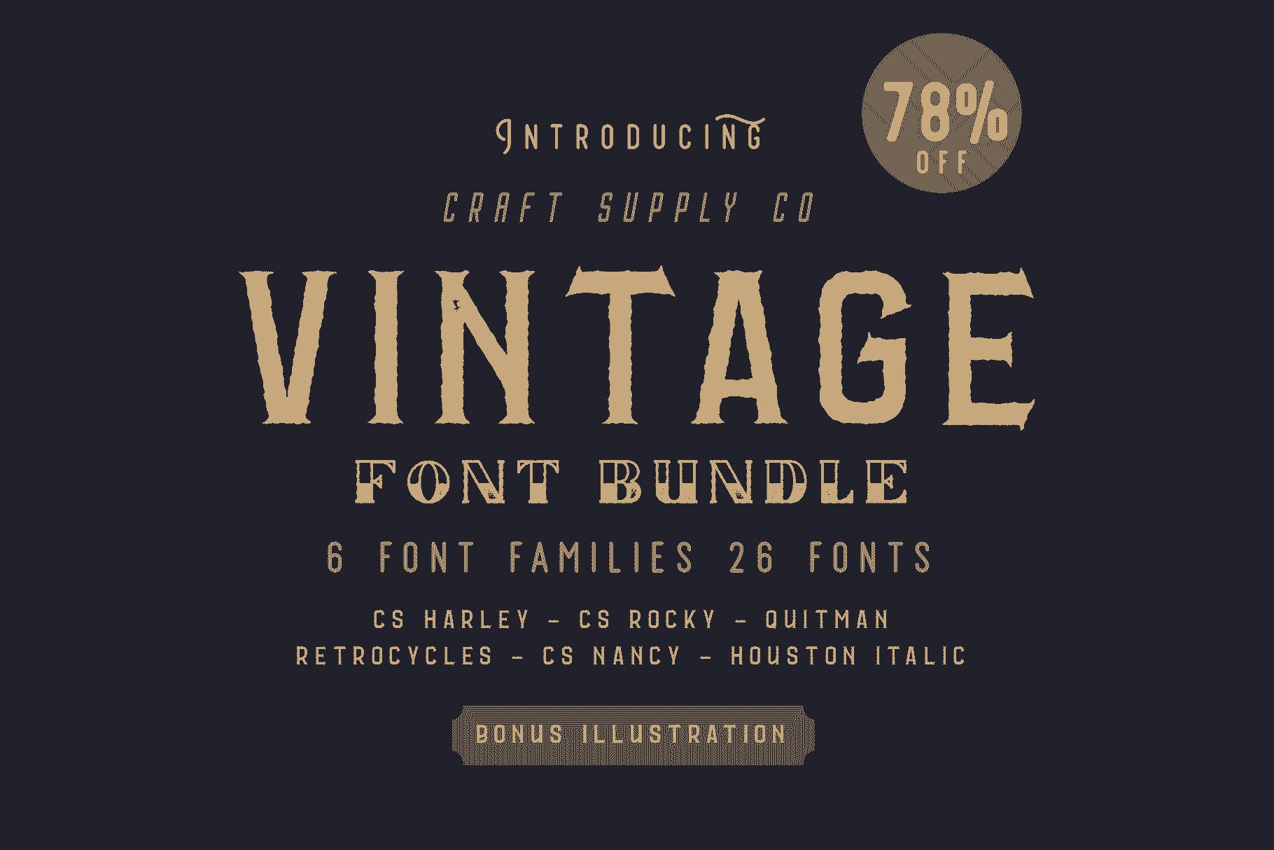 Vintage Font Bundle: 26 fonts + 100 extras - just $19 - 001 min 1