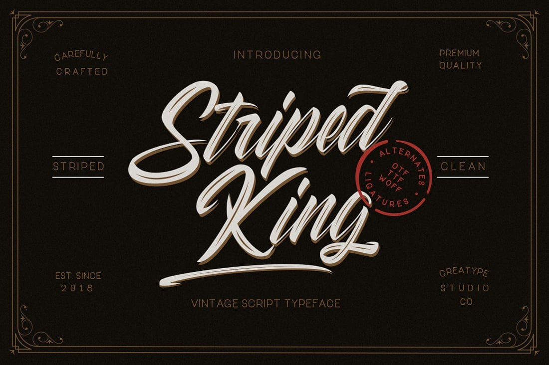 Hand Lettered Fonts - 16 Stunning Fonts - OTF, TTF, WOFF. Just $29! - 02 Striped King Preview 1