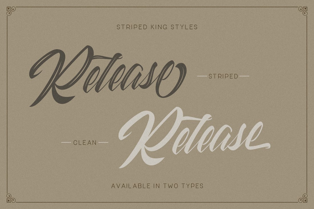 Hand Lettered Fonts - 16 Stunning Fonts - OTF, TTF, WOFF. Just $29! - 02 Striped King Preview 2