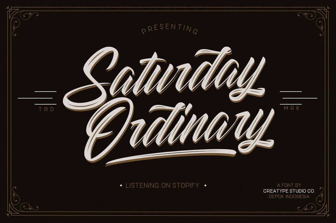 Hand Lettered Fonts - 16 Stunning Fonts - OTF, TTF, WOFF. Just $29! - 02 Striped King Preview 3