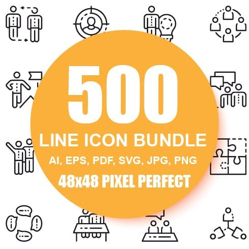 500 Business Line Icons - $22 ONLY - 1 8