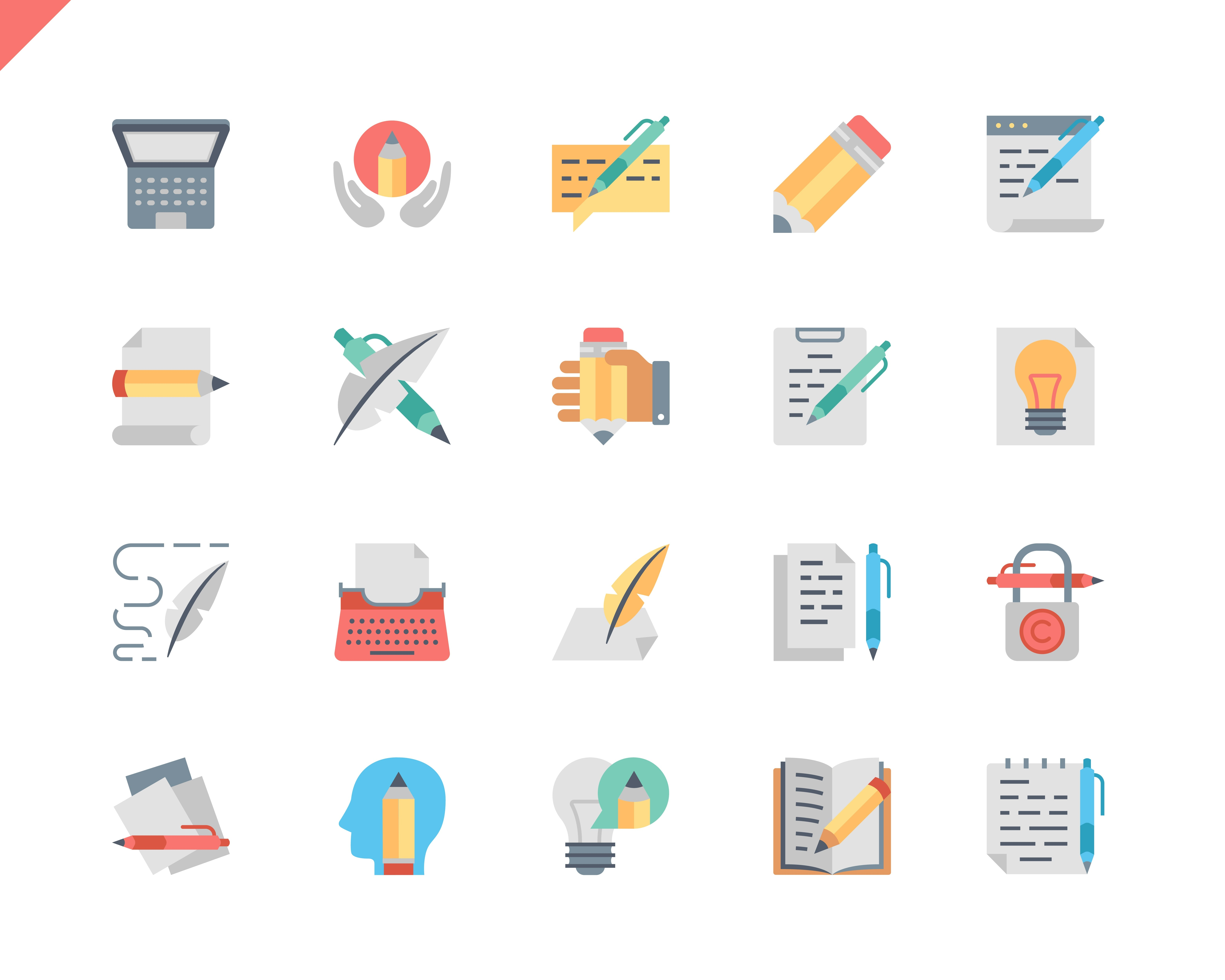 Simple Set Copywriting Flat Icons for Website and Mobile Apps. Contains such Icons as Pencil, Book, Hand, Typewriter. 48x48 Pixel Perfect. Vector illustration.