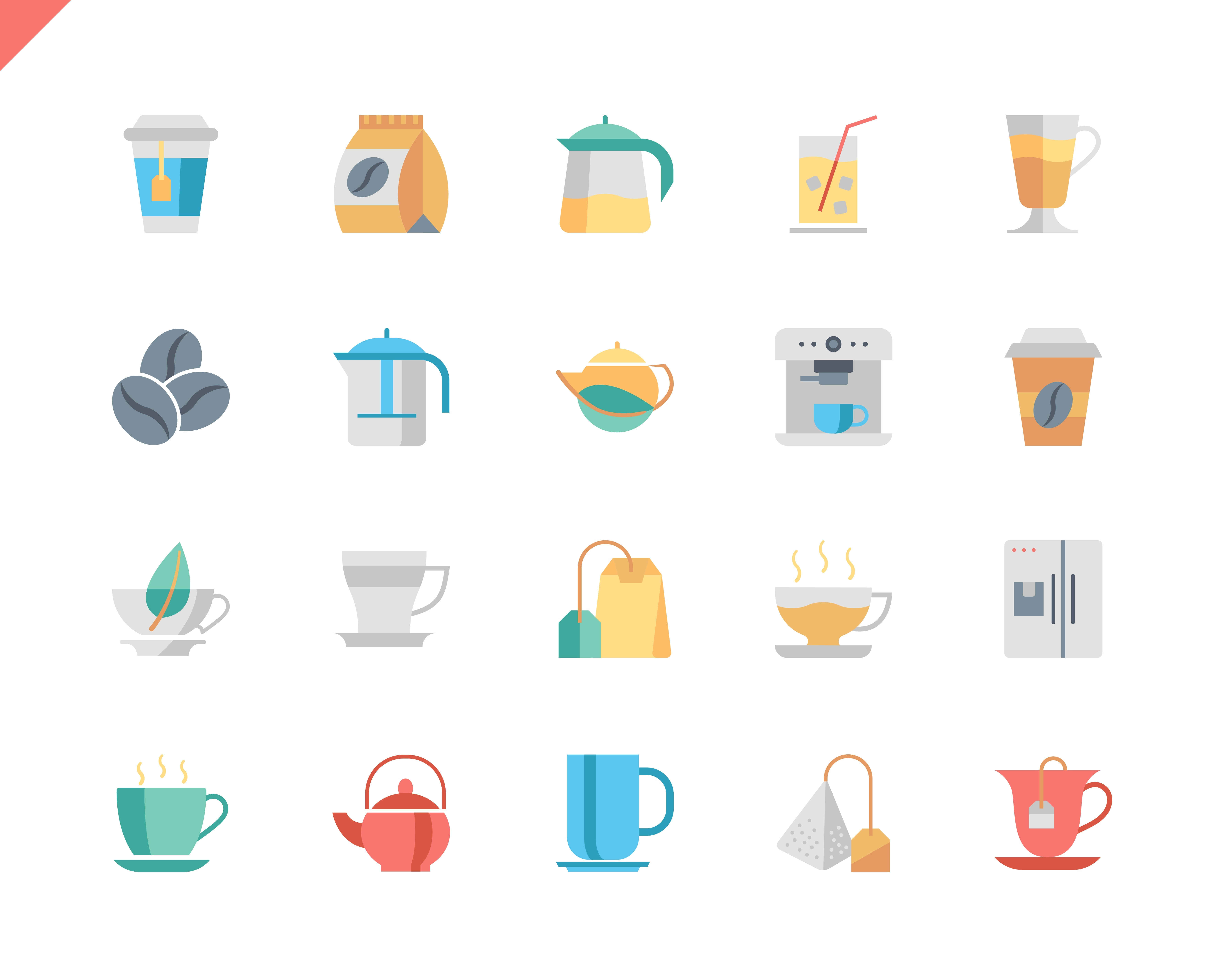 Simple Set Coffee and Tea Flat Icons for Website and Mobile Apps. Contains such Icons as Juice, Cappuccino, Drink, Herbal. 48x48 Pixel Perfect. Vector illustration.