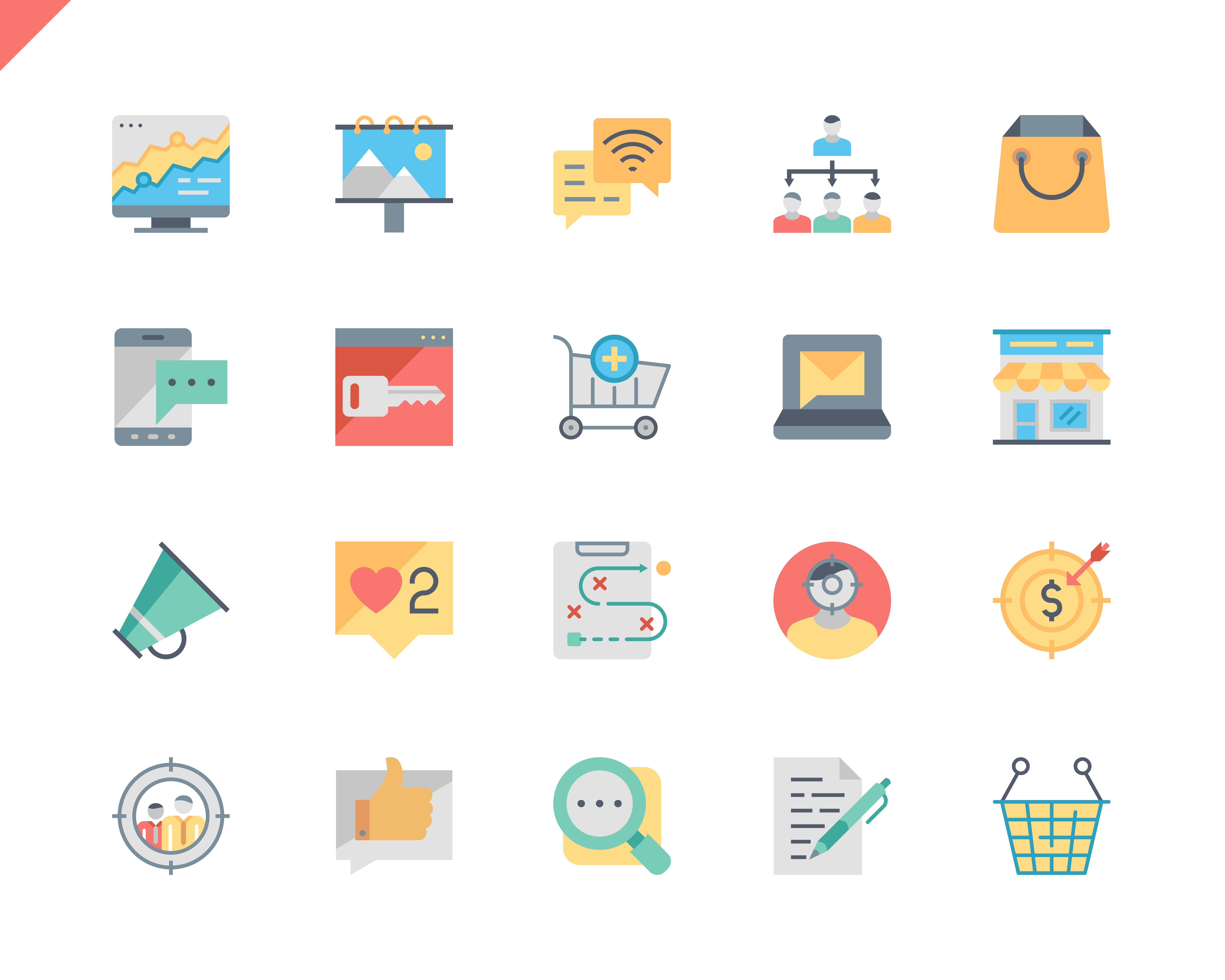 Simple Set Marketing Flat Icons for Website and Mobile Apps. Contains such Icons as Mail Marketing, Target, Campaign, Product, Presentation, Target. 48x48 Pixel Perfect. Vector illustration.
