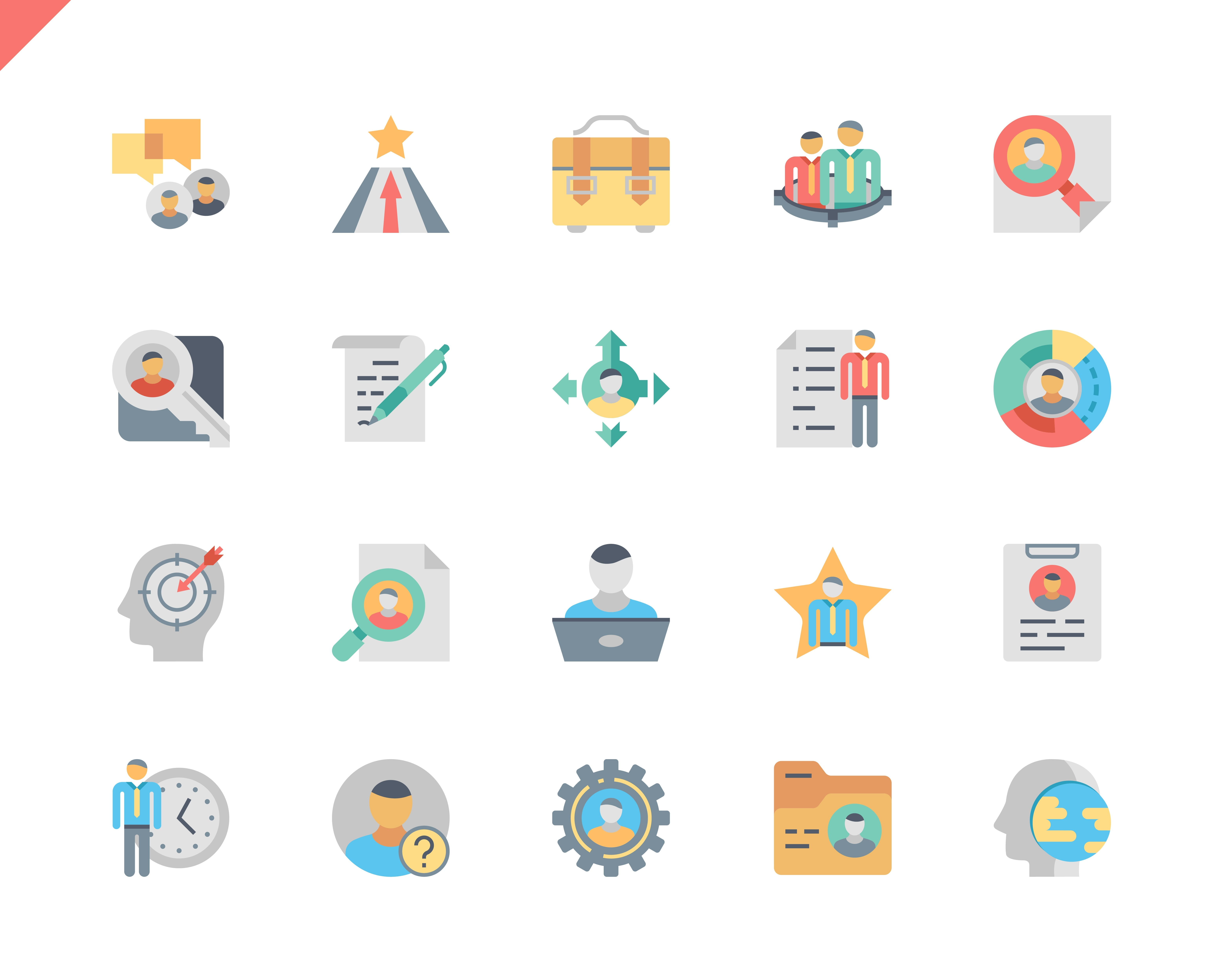 Simple Set Head Hunting Flat Icons for Website and Mobile Apps. Contains such Icons as Job, Career, Businessman, Developer, Employment, Resume. 48x48 Pixel Perfect. Vector illustration.
