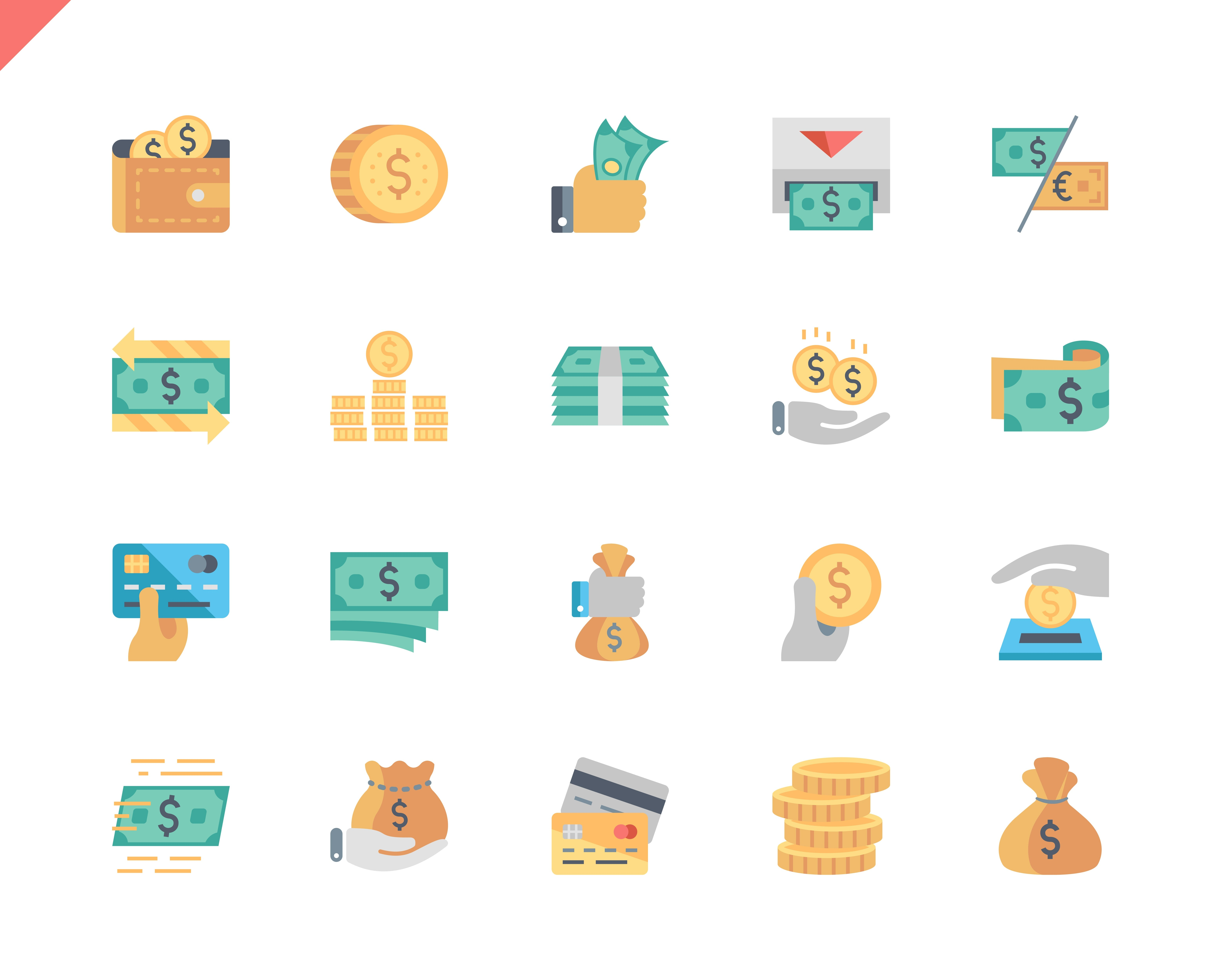Simple Set Money Flat Icons for Website and Mobile Apps. Contains such Icons as Finance, Wallet, Card, ATM, Bundle of Money, Coin. 48x48 Pixel Perfect. Vector illustration.
