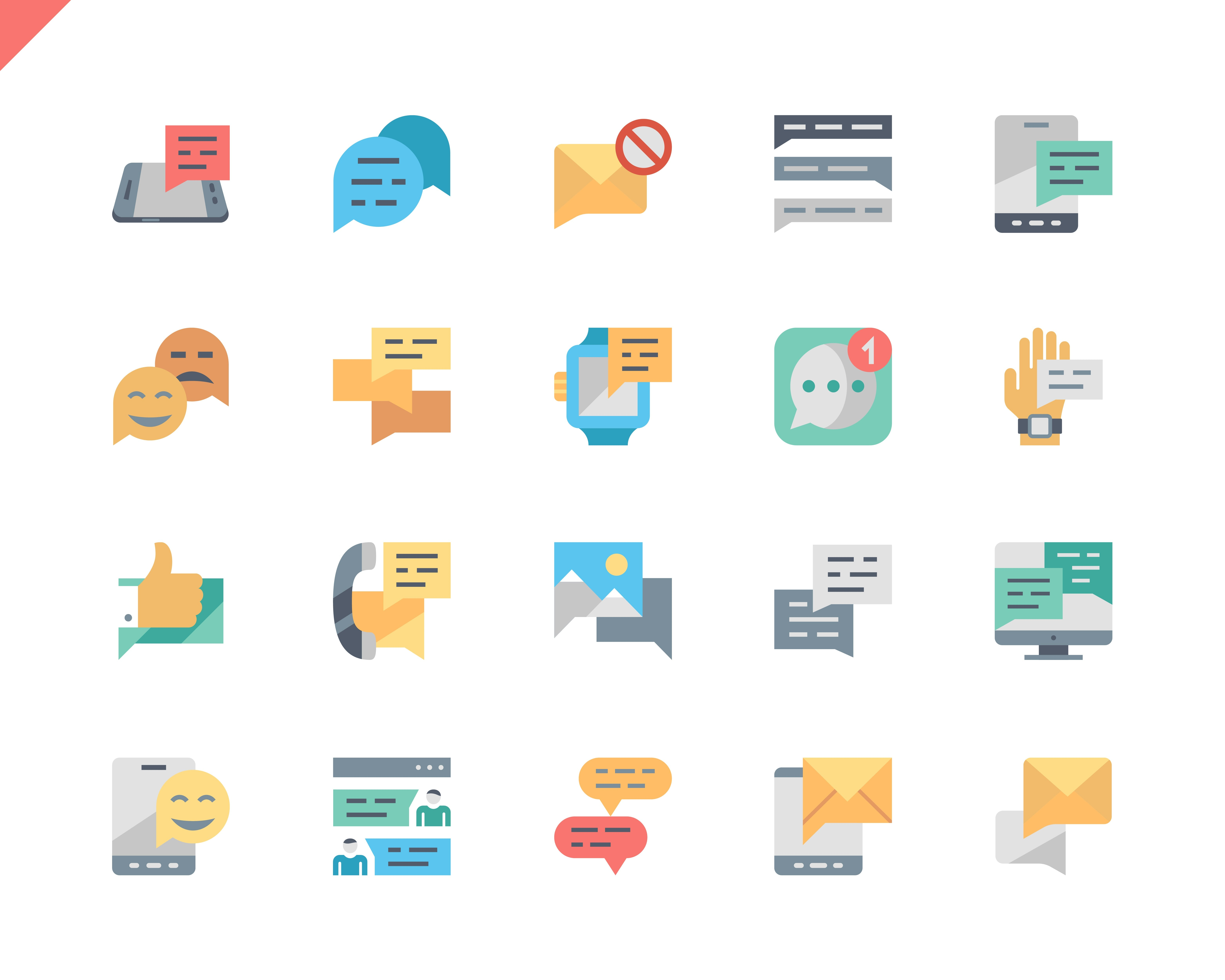 Simple Set Message Flat Icons for Website and Mobile Apps. Contains such Icons as Messenger, Conversation, SMS, Emoticon, Notification, Chat. 48x48 Pixel Perfect. Vector illustration.