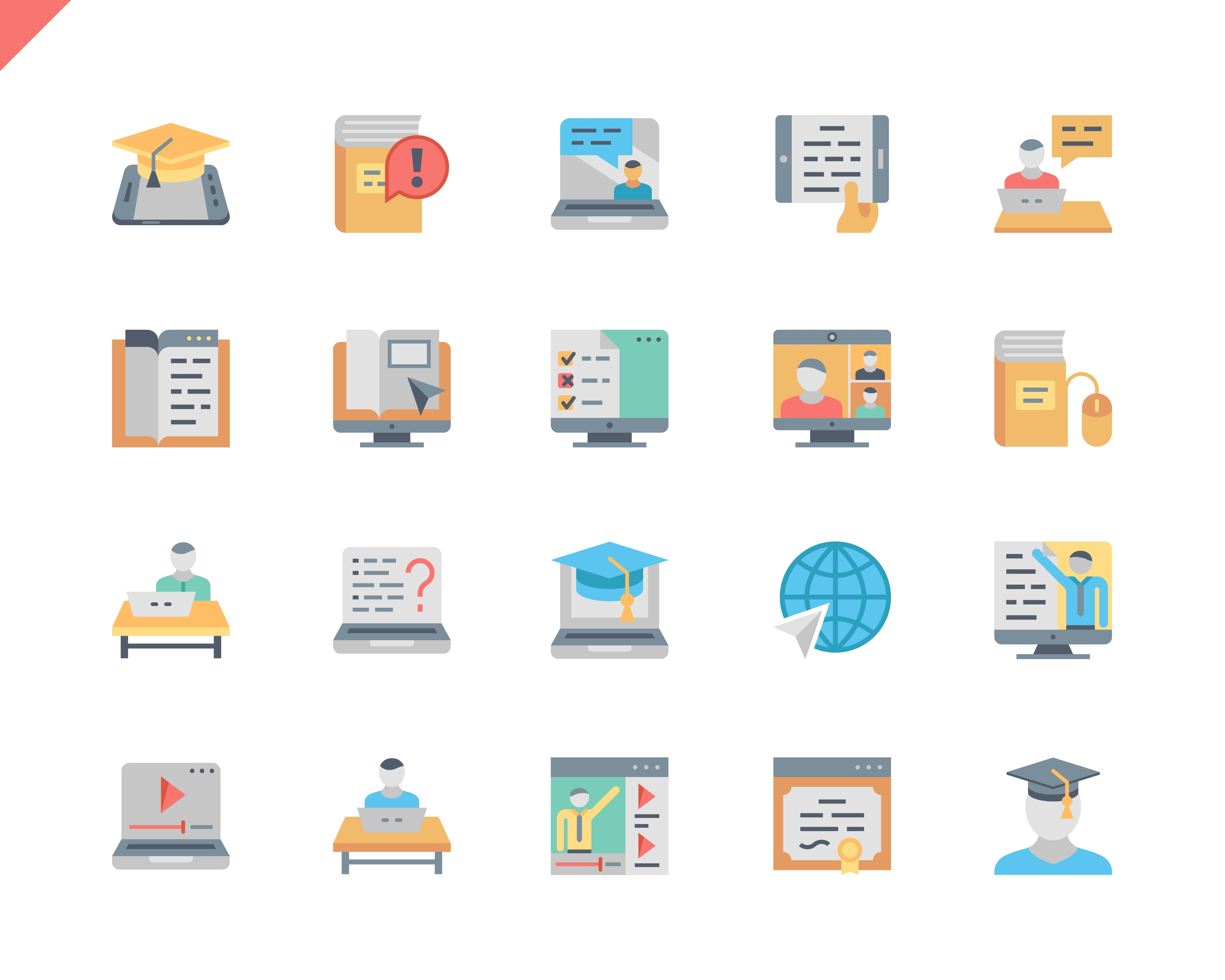 Simple Set Online Education Flat Icons for Website and Mobile Apps. Contains such Icons as Video Tutorial, E-book, Computer, Education Plan, Student. 48x48 Pixel Perfect. Vector illustration.