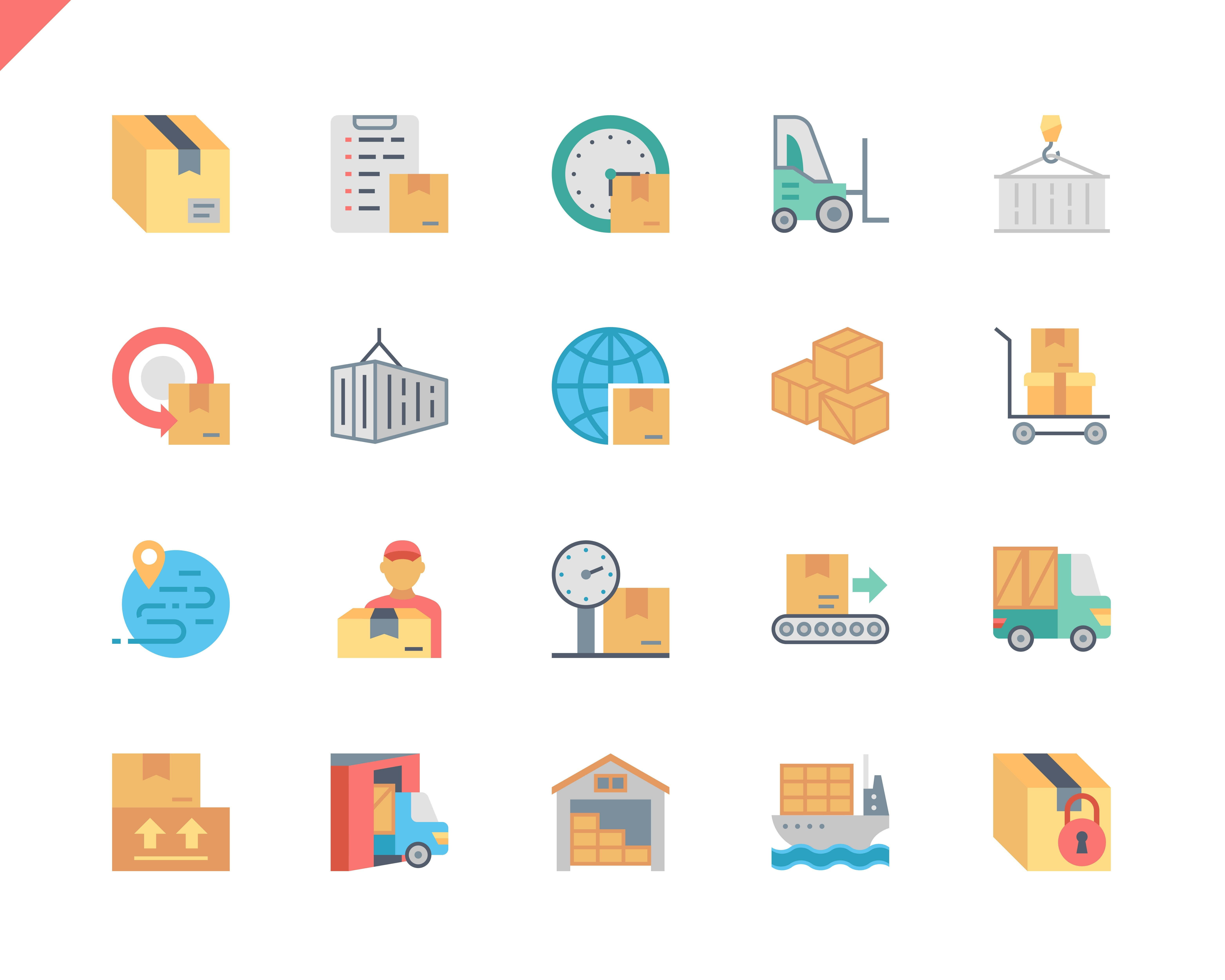 Simple Set Package Delivery Flat Icons for Website and Mobile Apps. Contains such Icons as Warehouse, Truck, Worldwide Shipping, Cargo. 48x48 Pixel Perfect. Vector illustration.
