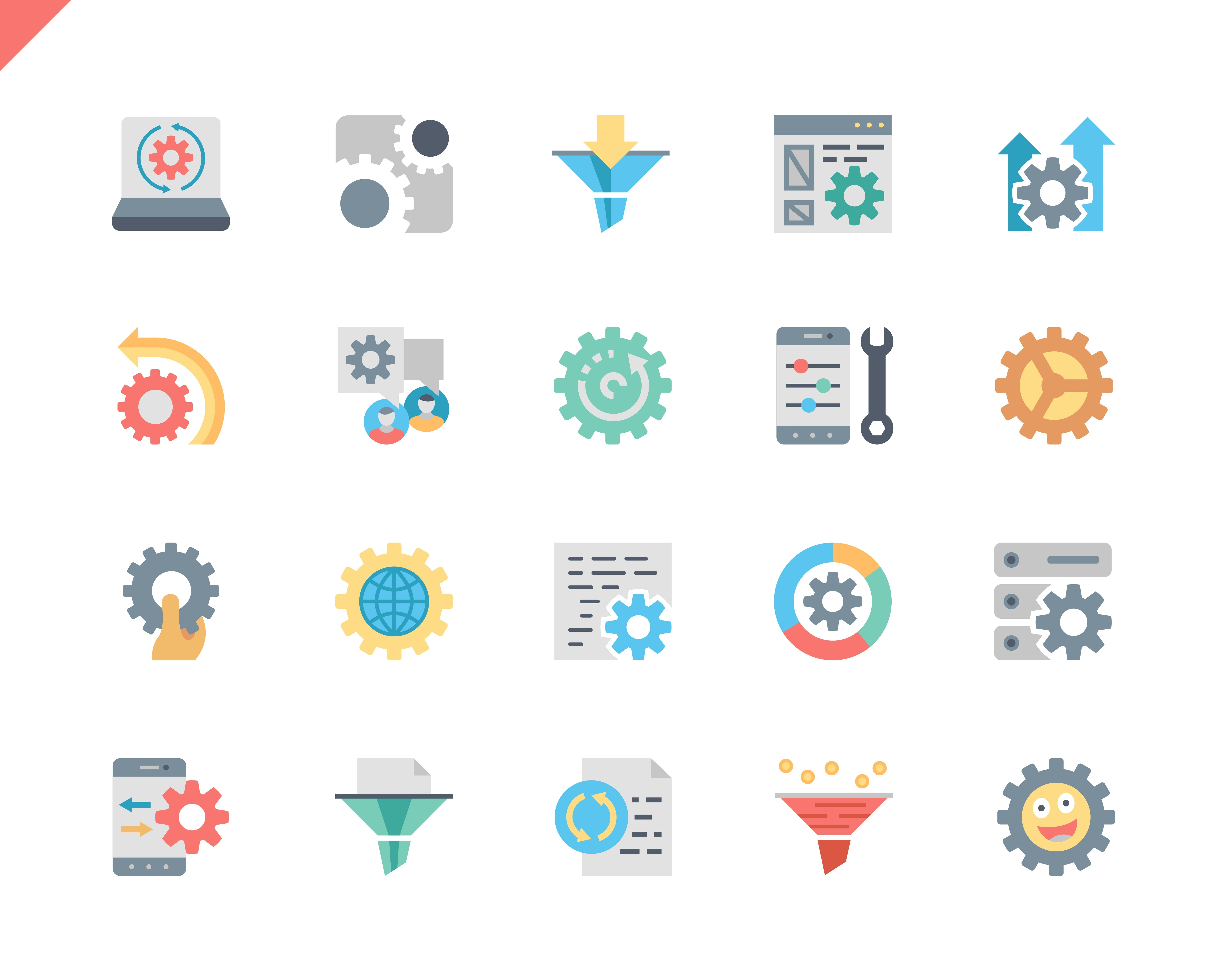Simple Set Data Processing Flat Icons for Website and Mobile Apps. Contains such Icons as Filter, Gear, Scheme, Business, Technology, Human. 48x48 Pixel Perfect. Vector illustration.