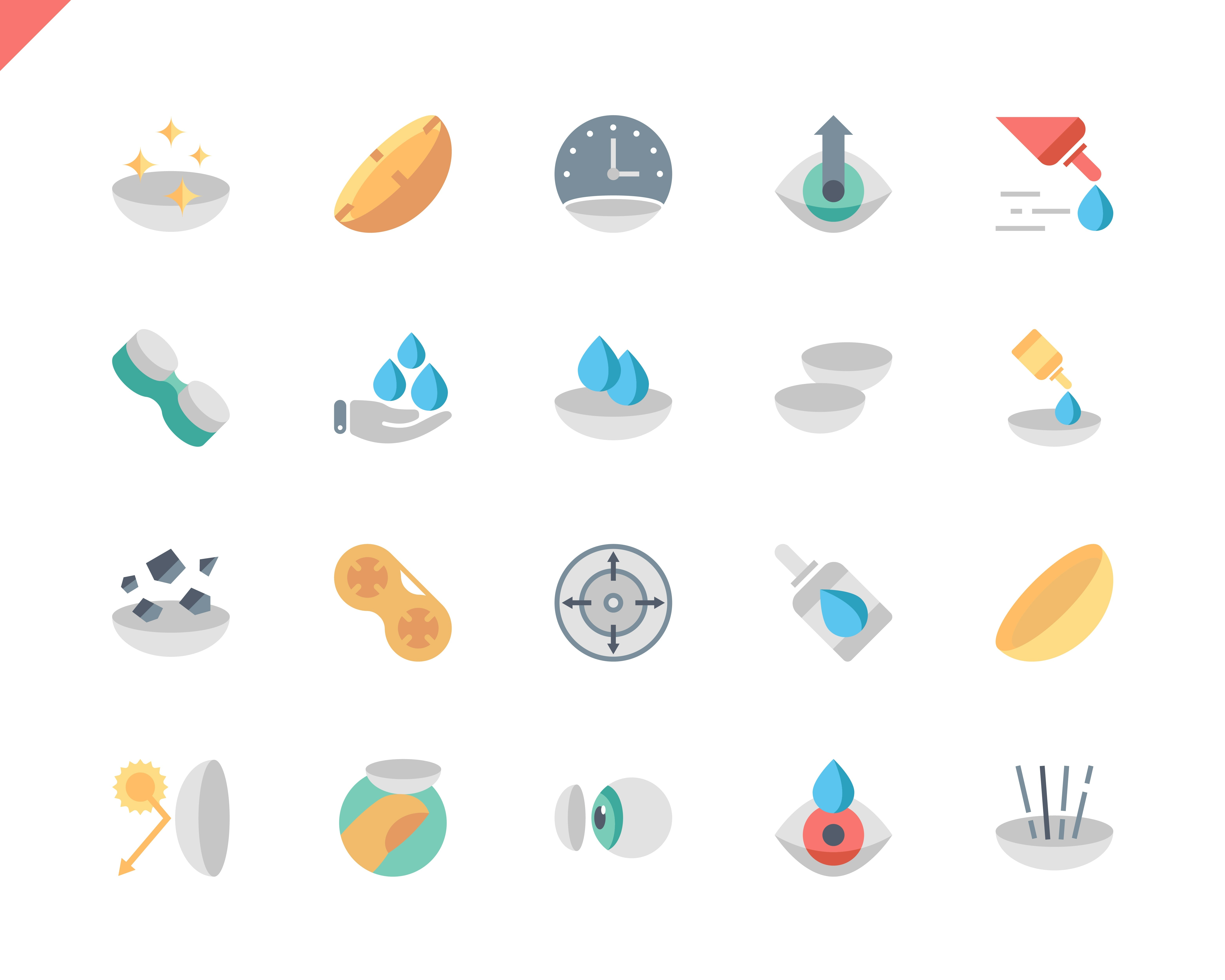 Simple Set Eye Lens Flat Icons for Website and Mobile Apps. Contains such Icons as Lenses, Protection Container, Eyedropper, Medicine. 48x48 Pixel Perfect. Vector illustration.