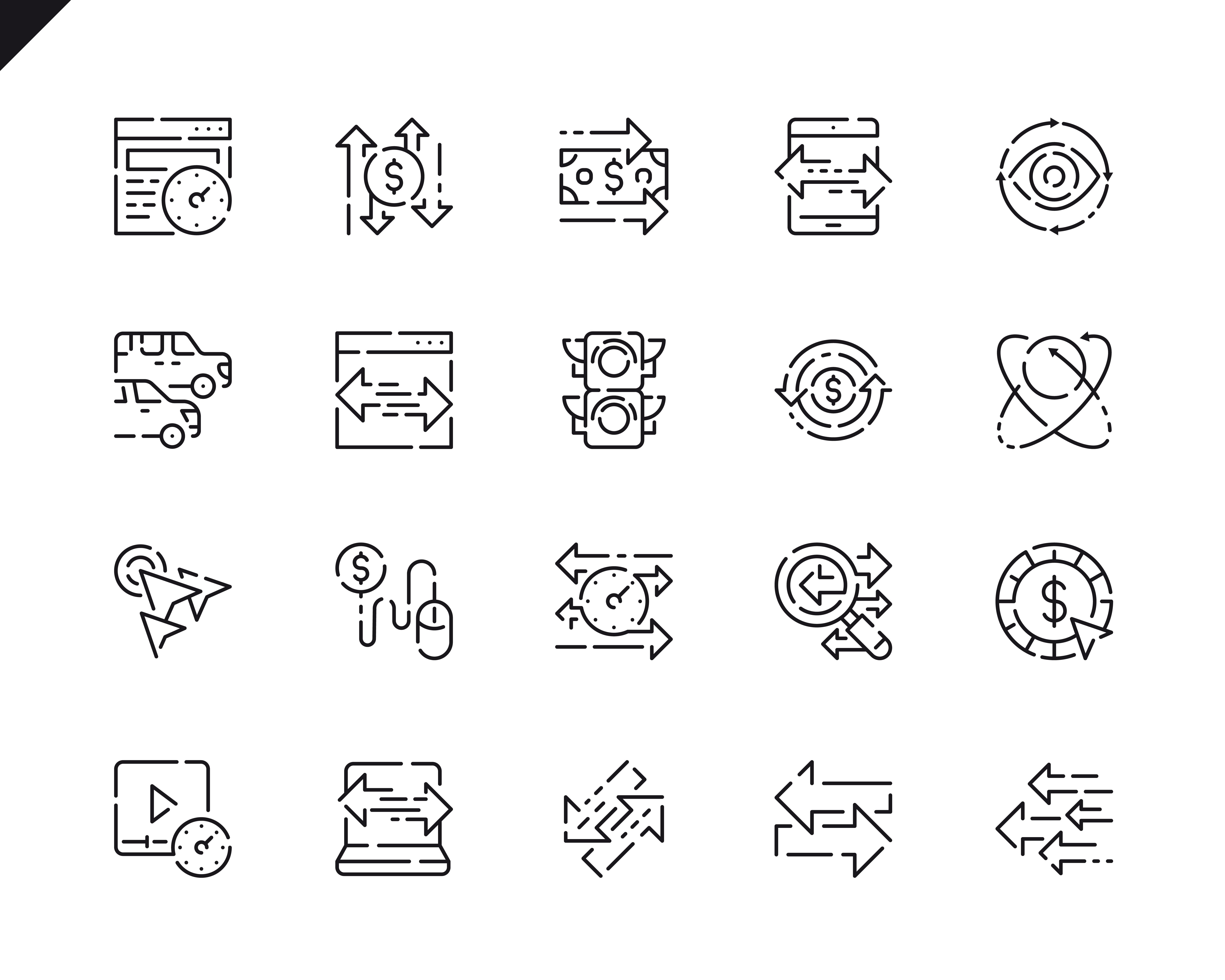 Simple Set Traffic Line Icons for Website and Mobile Apps. Contains such Icons as Pay Per Click, Arrow, Monetize, Traffic Speed, Exchange. 48x48 Pixel Perfect. Vector illustration.