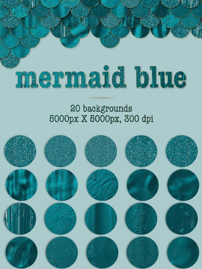 Digital Art Collection - $29 ONLY - 21 Mermaid Blue