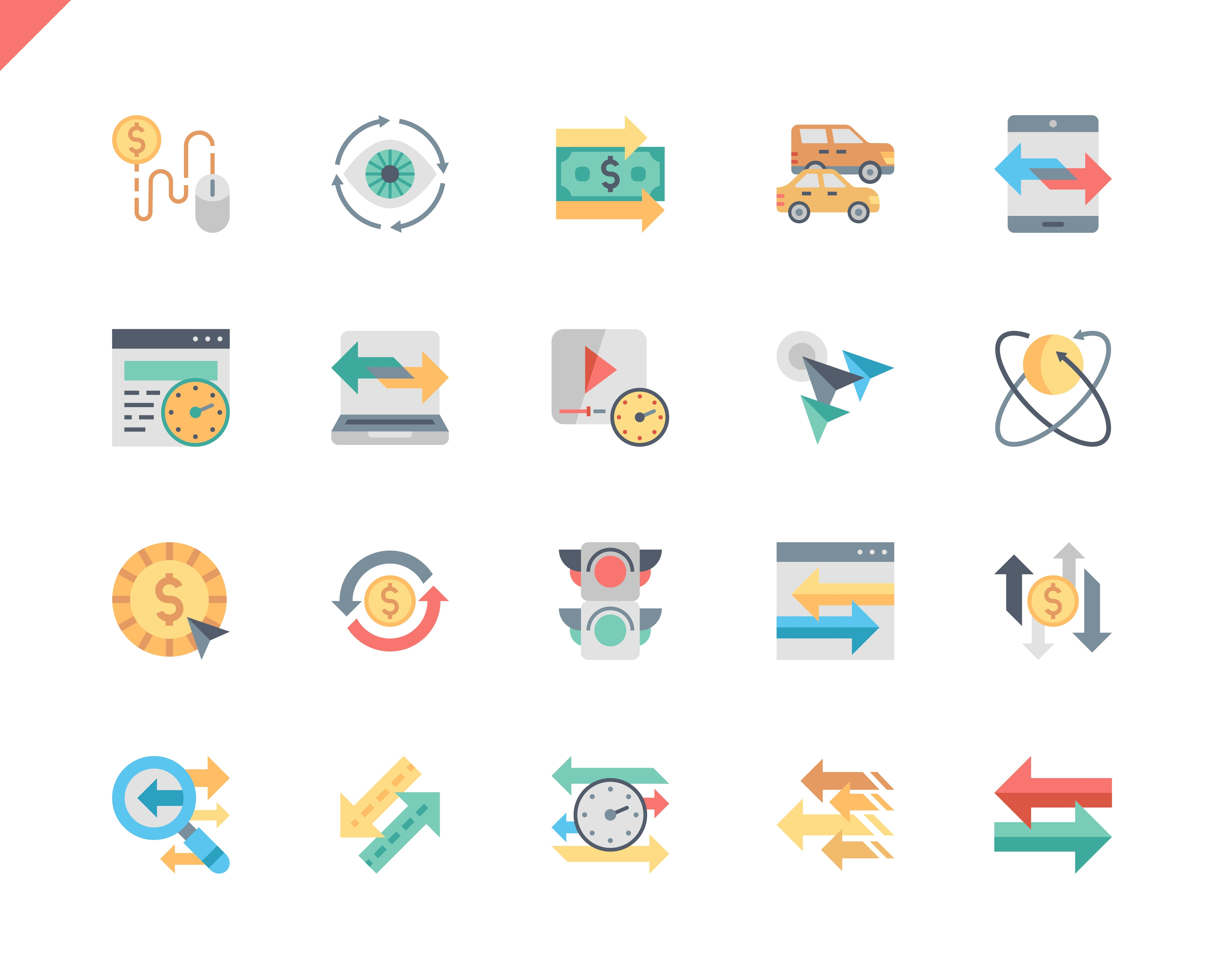 Simple Set Traffic Flat Icons for Website and Mobile Apps. Contains such Icons as Pay Per Click, Arrow, Monetize, Traffic Speed, Exchange. 48x48 Pixel Perfect. Vector illustration.
