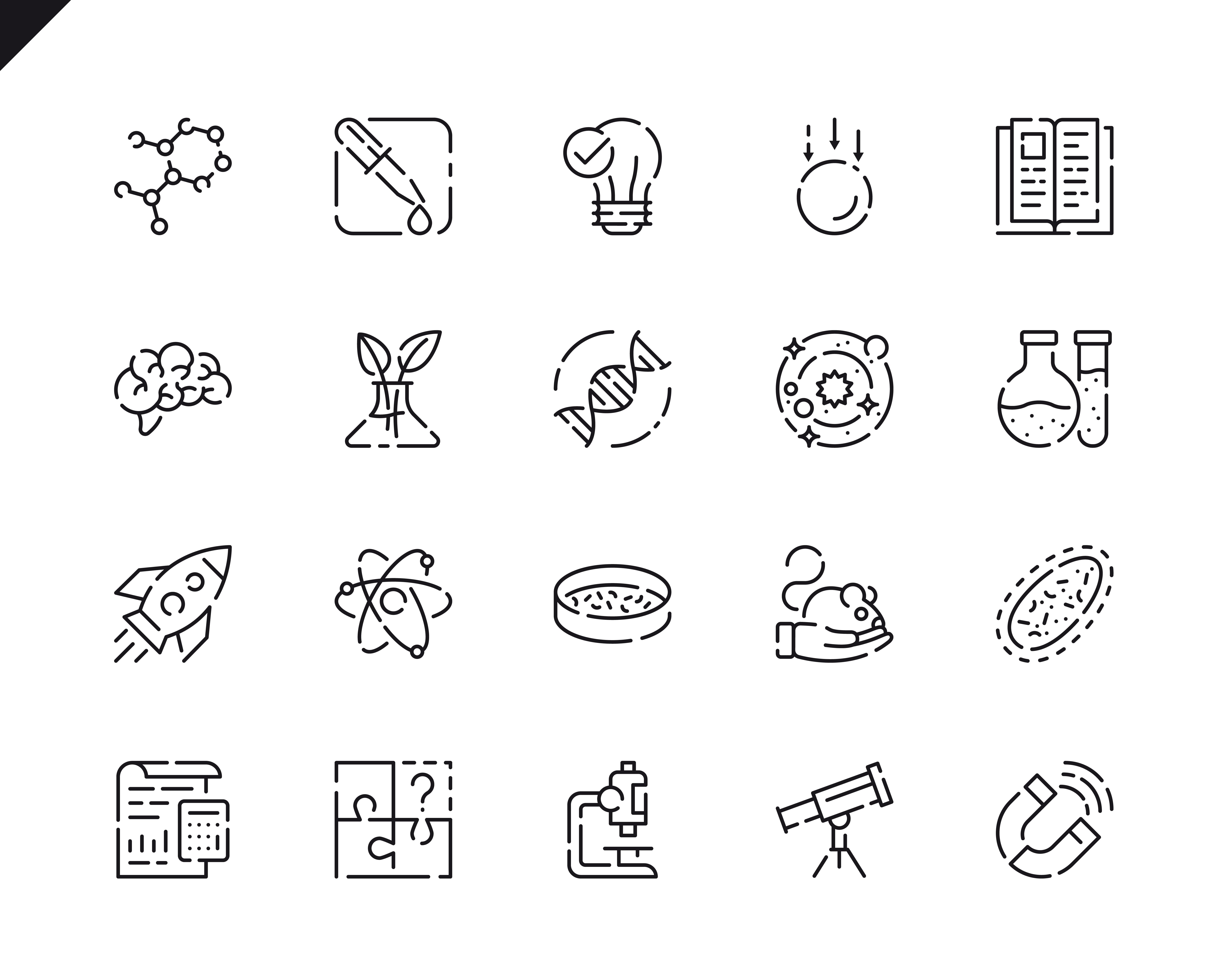 Simple Set Science Line Icons for Website and Mobile Apps. Contains such Icons as Biology, Astronomy, Physics, Science Test, Laboratory, Physics. 48x48 Pixel Perfect. Vector illustration.