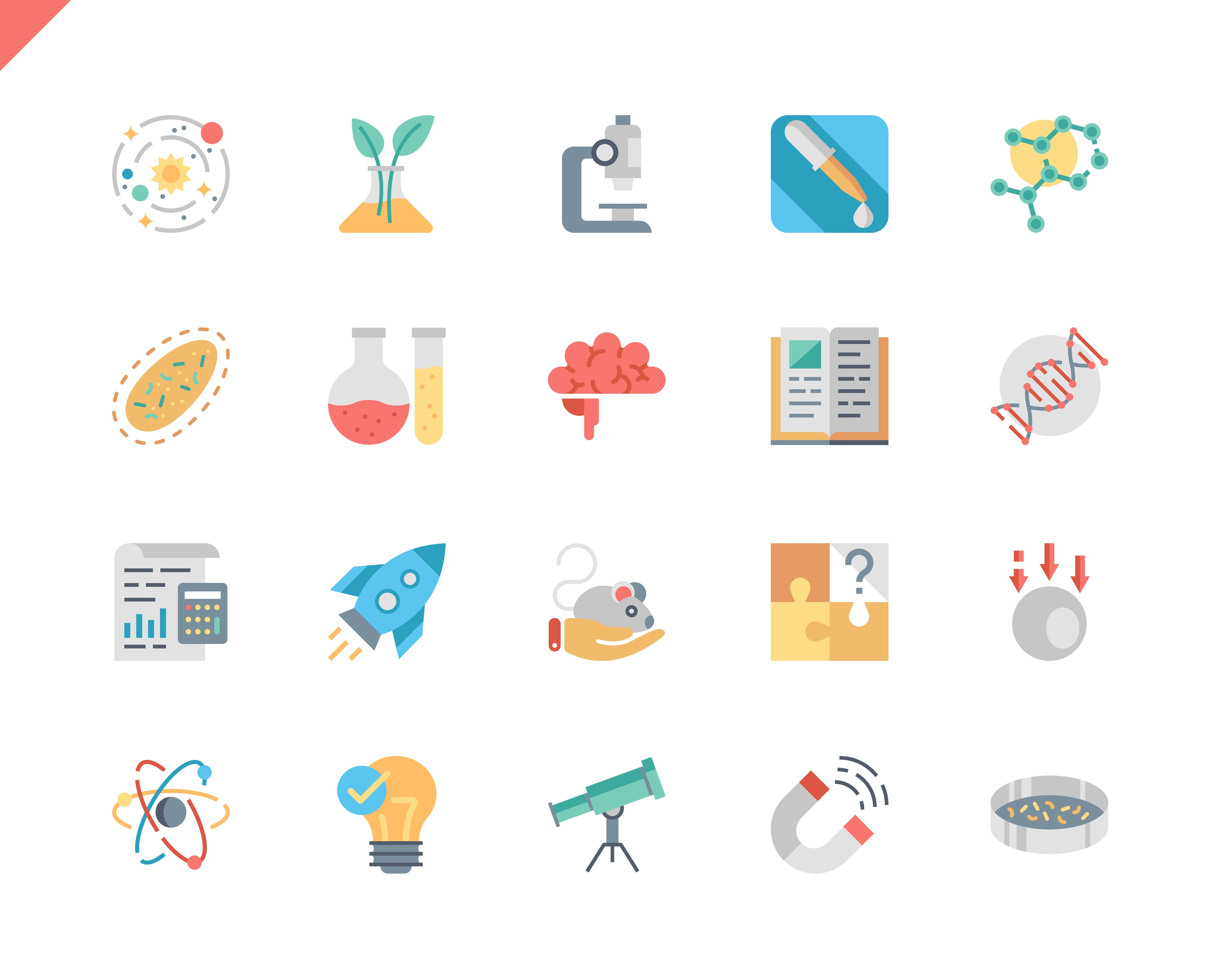 Simple Set Science Flat Icons for Website and Mobile Apps. Contains such Icons as Biology, Astronomy, Physics, Science Test, Laboratory, Physics. 48x48 Pixel Perfect. Vector illustration.