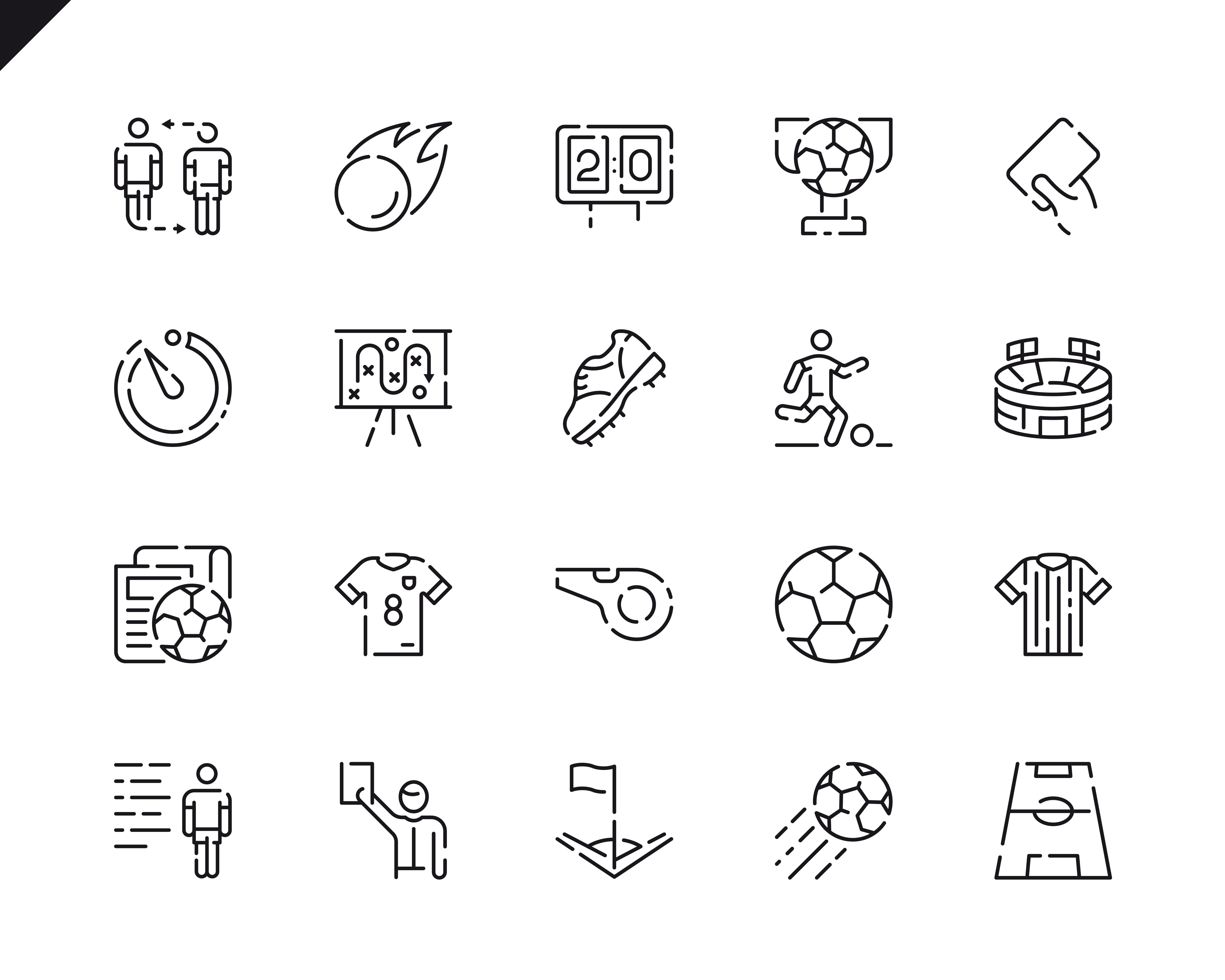 Simple Set Soccer Line Icons for Website and Mobile Apps. Contains such Icons as Football, Stadium, Field, Referee, Cup. 48x48 Pixel Perfect. Vector illustration.