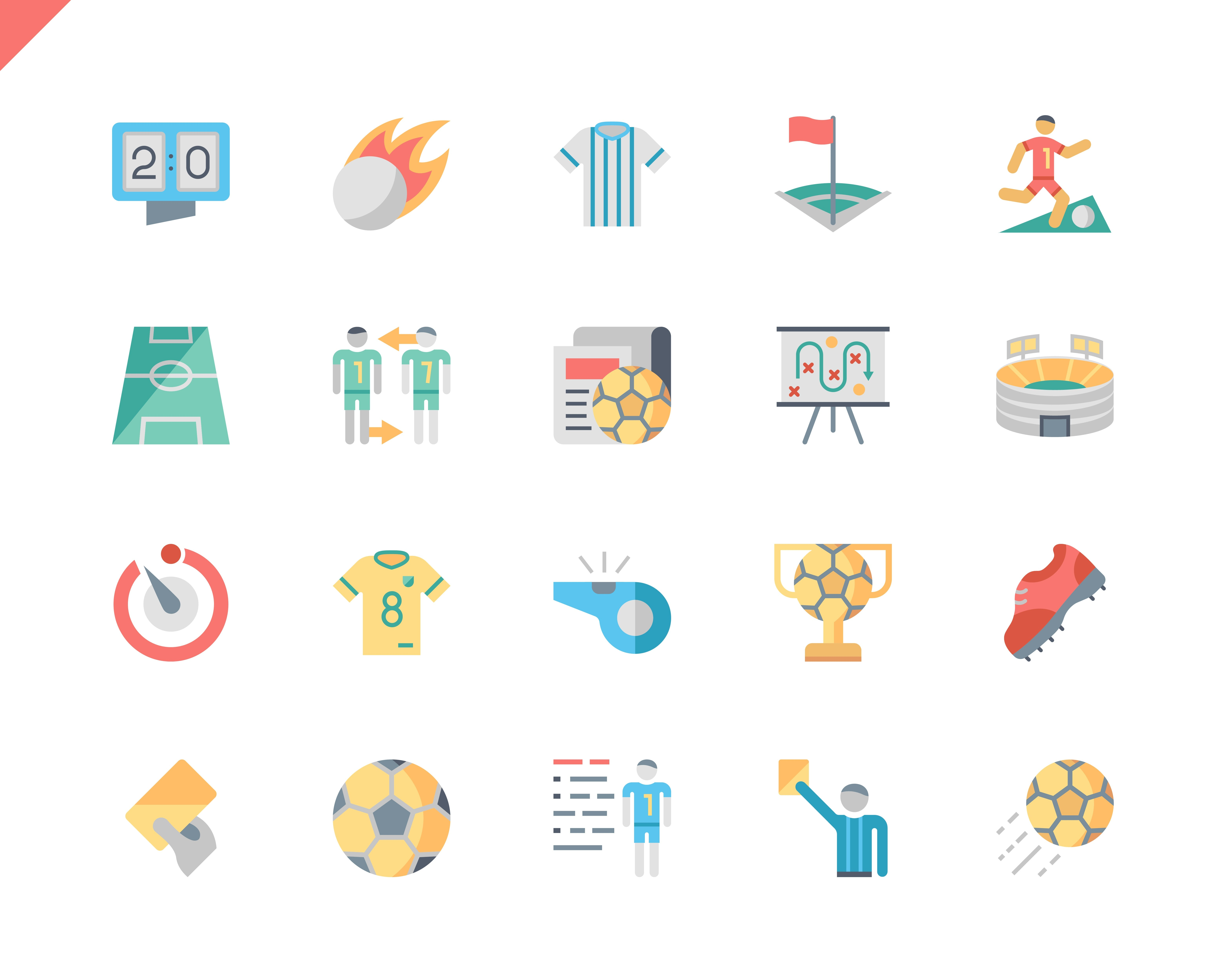 Simple Set Soccer Flat Icons for Website and Mobile Apps. Contains such Icons as Football, Stadium, Field, Referee, Cup. 48x48 Pixel Perfect. Vector illustration.