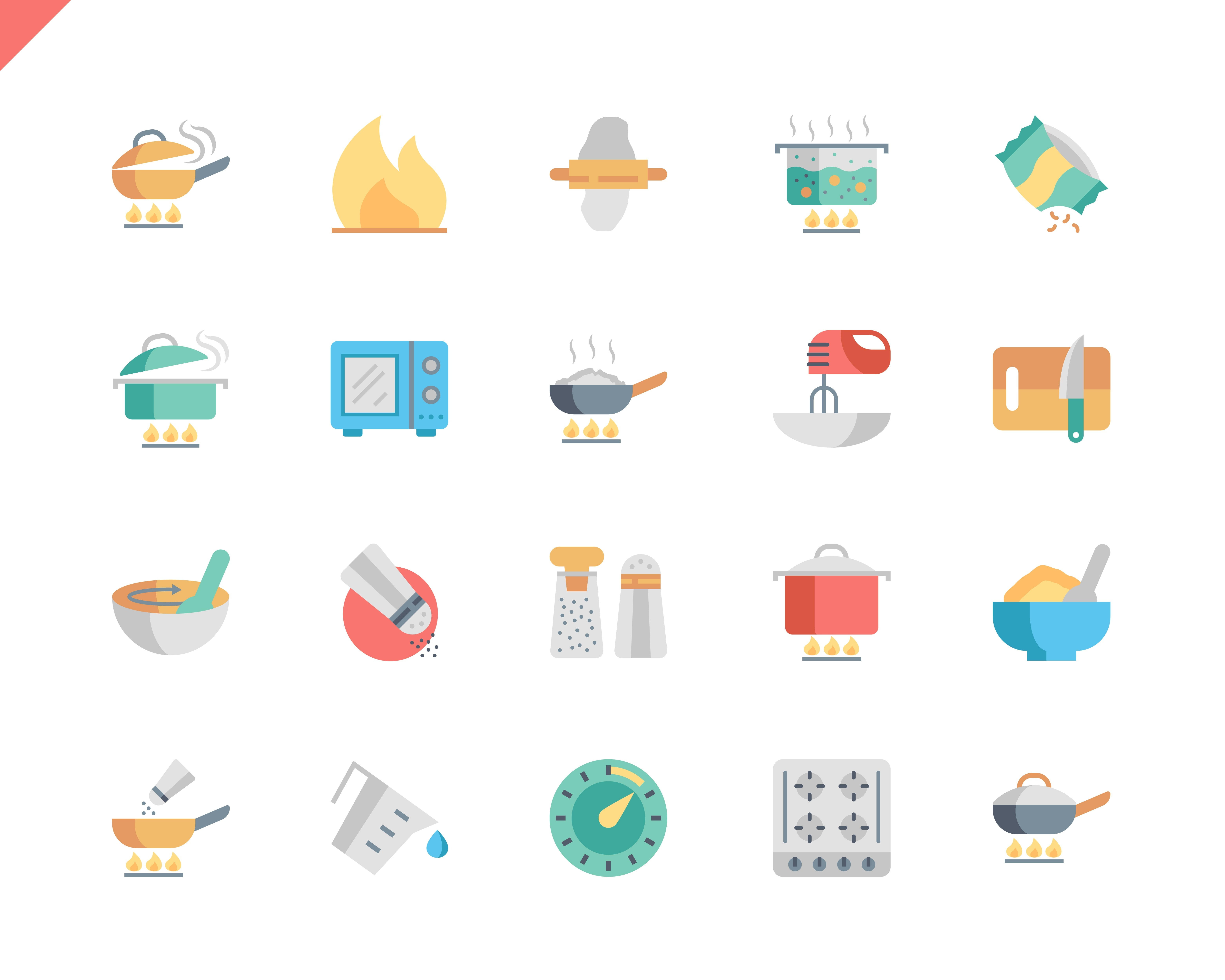 Simple Set Cooking Flat Icons for Website and Mobile Apps. Contains such Icons as Food, Boiling, Flavoring, Saucepan, Bake, Blending. 48x48 Pixel Perfect. Vector illustration.