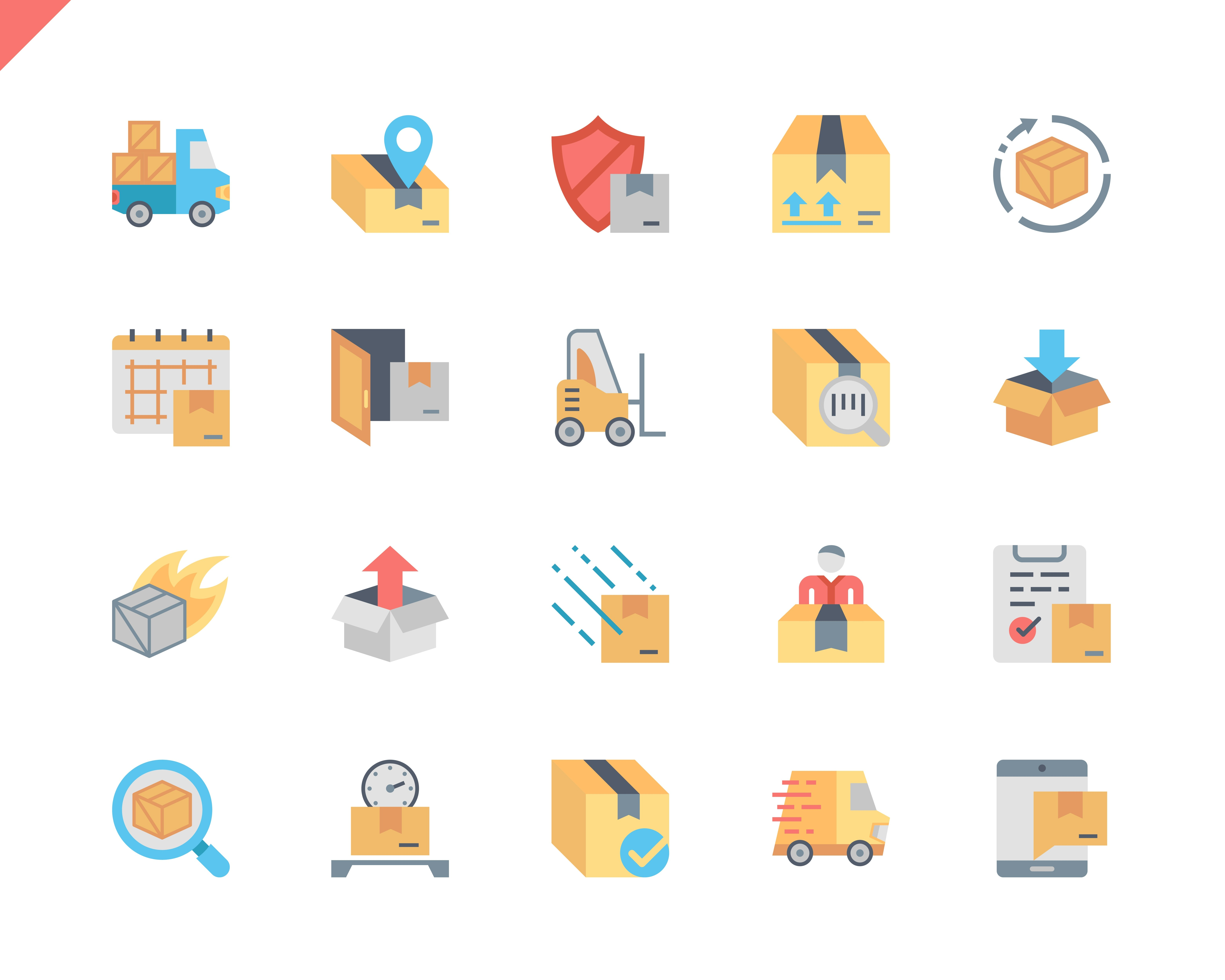 Simple Set Shipping Flat Icons for Website and Mobile Apps. Contains such Icons as Export, Logistics, Board, Cargo, Delivery. 48x48 Pixel Perfect. Vector illustration.