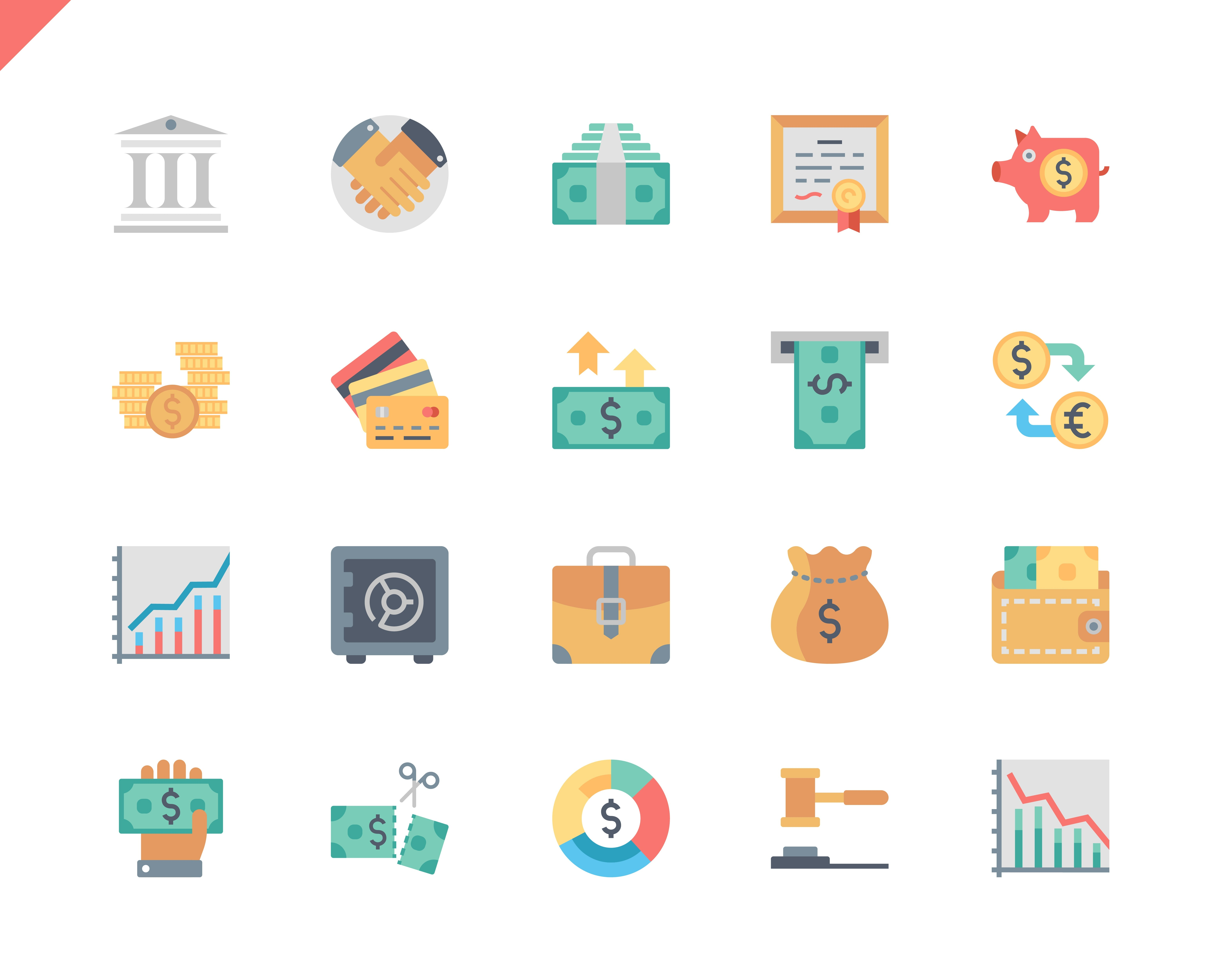 Simple Set Finance Flat Icons for Website and Mobile Apps. Contains such Icons as Taxes, Money, Building, Currency, Banking, Handshake. 48x48 Pixel Perfect. Vector illustration.