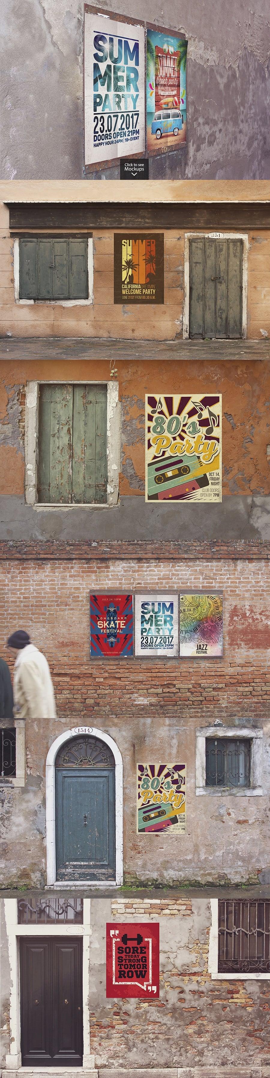 12 Poster Mockups in Venecia