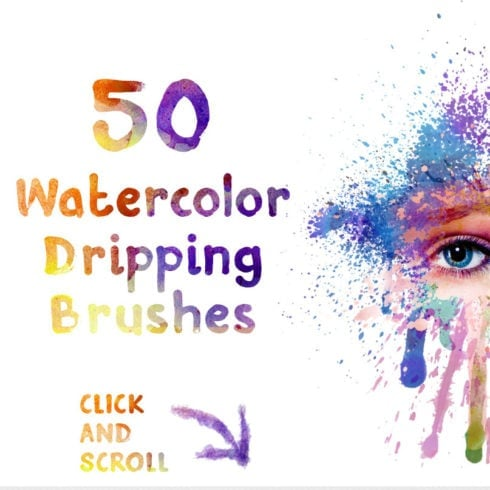 50 Free Watercolor Dripping Brushes - 490 490x490